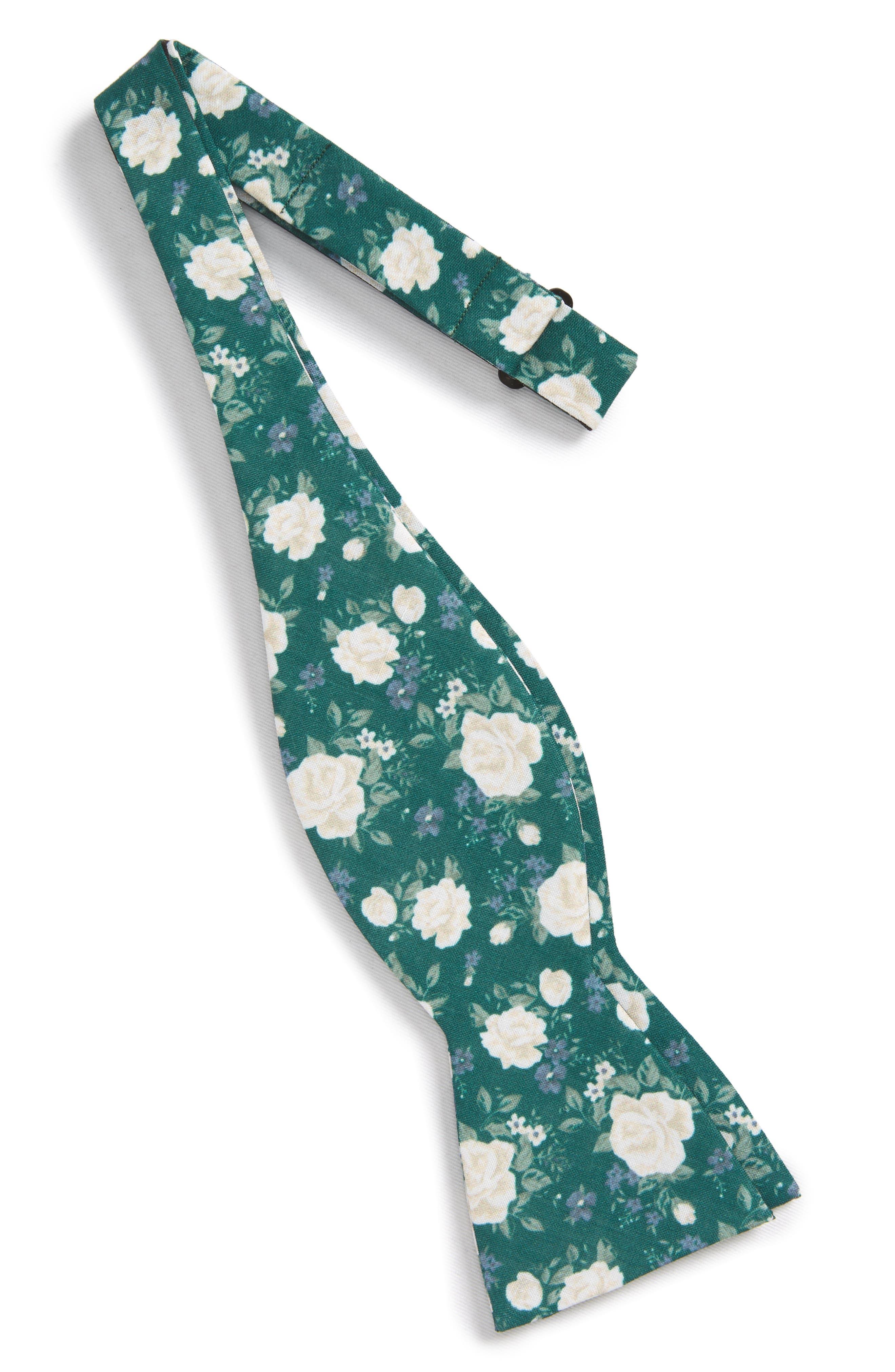 Hodgkiss Flowers Linen Bow Tie,                             Alternate thumbnail 3, color,                             Hunter Green