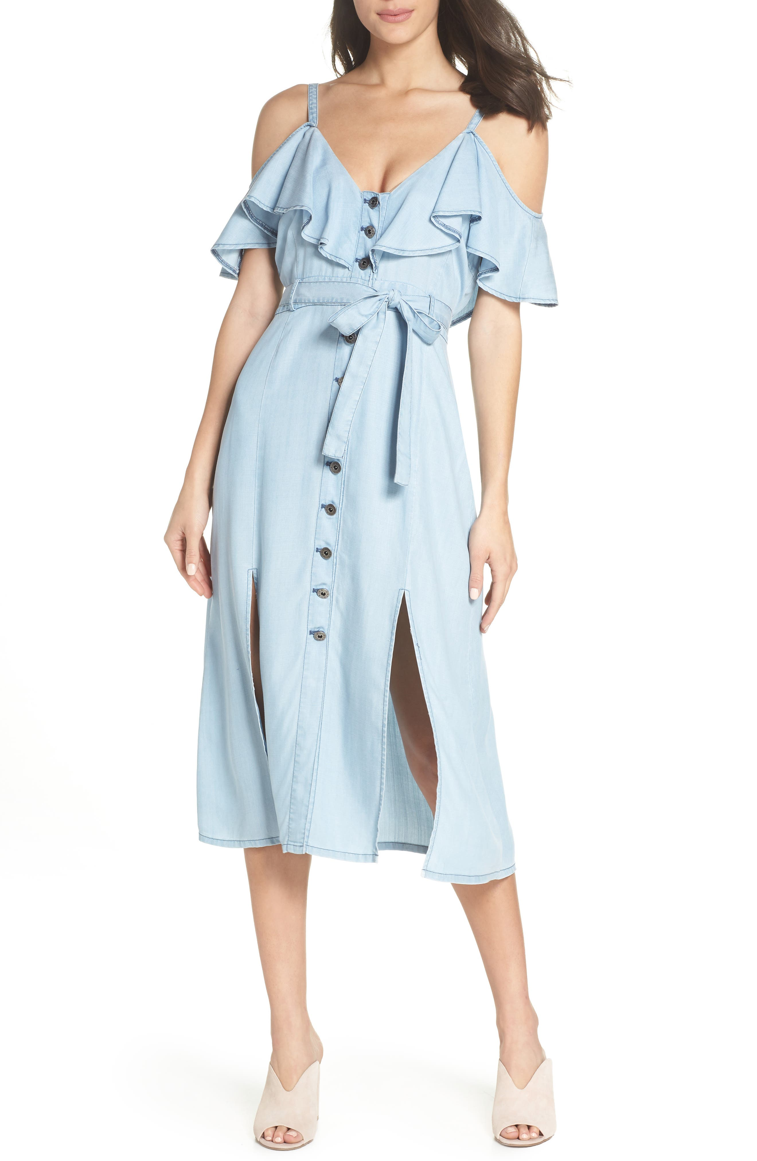 Caite Chambray Cold Shoulder Dress by Bb Dakota