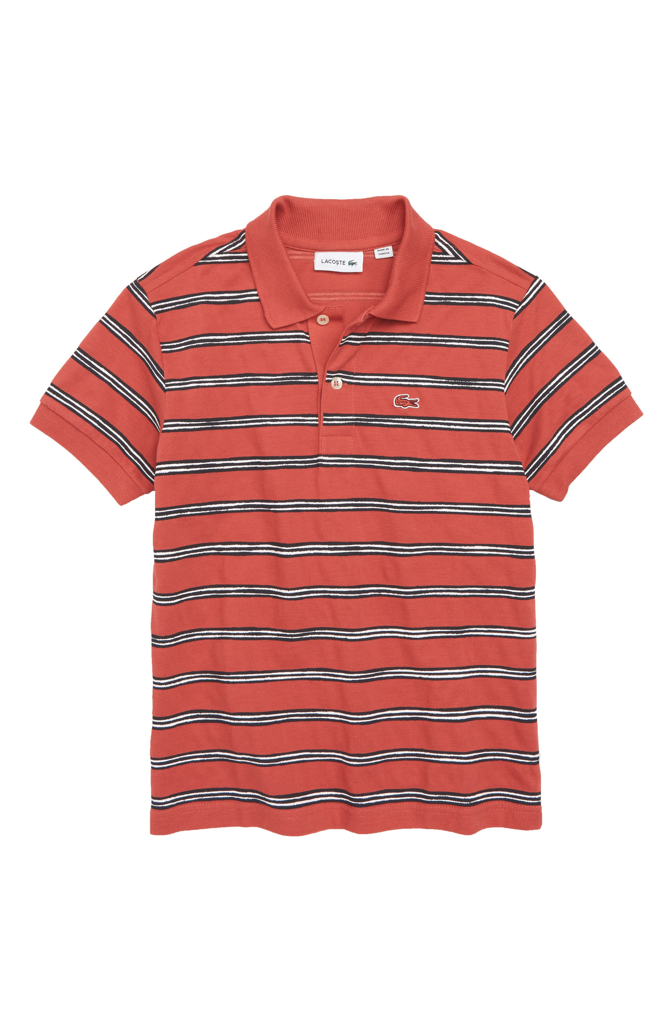 Stripe Piqué Polo,                         Main,                         color, Sierra Red