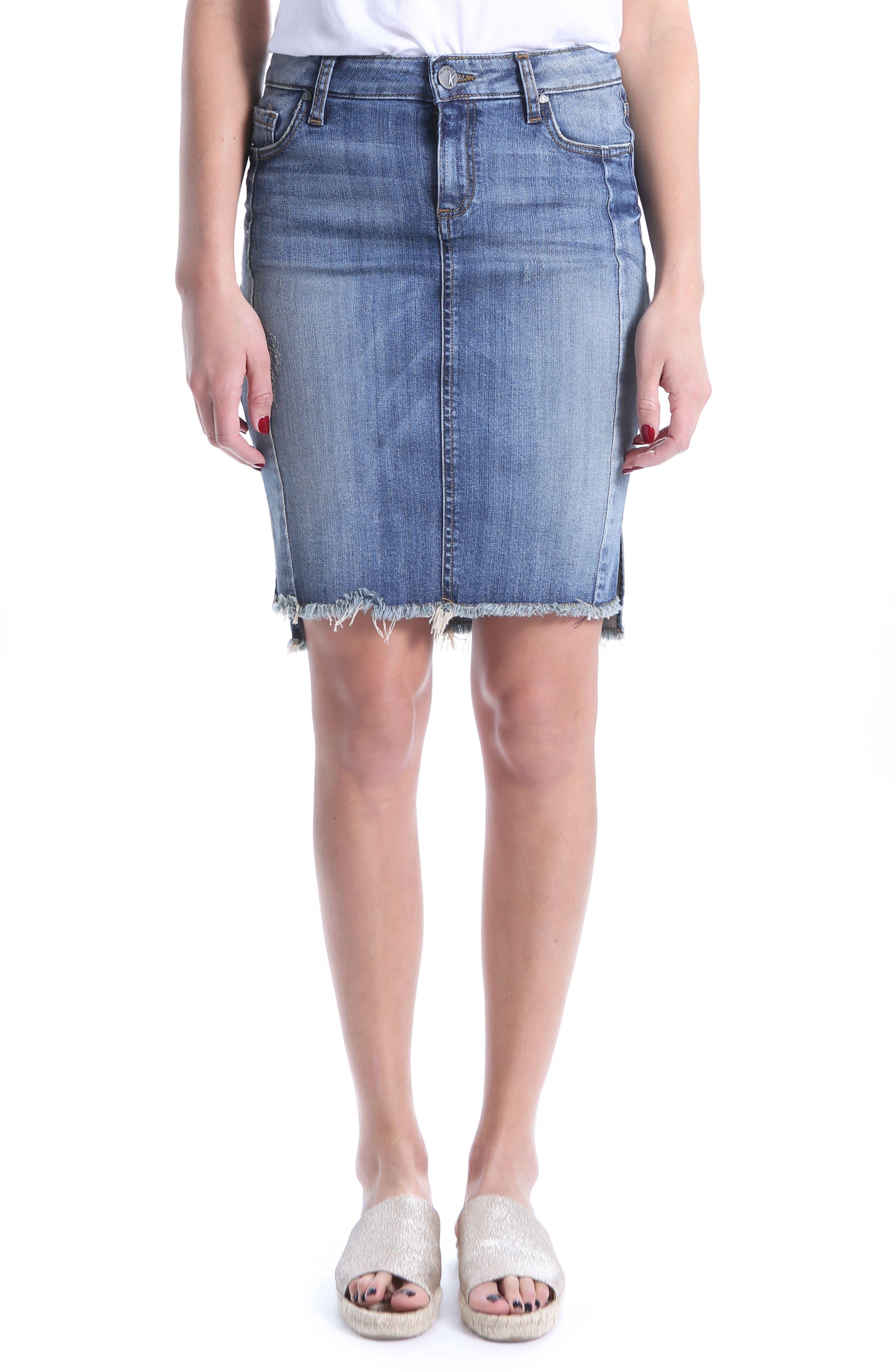 KUT from the Kloth Connie Step Hem Denim Skirt