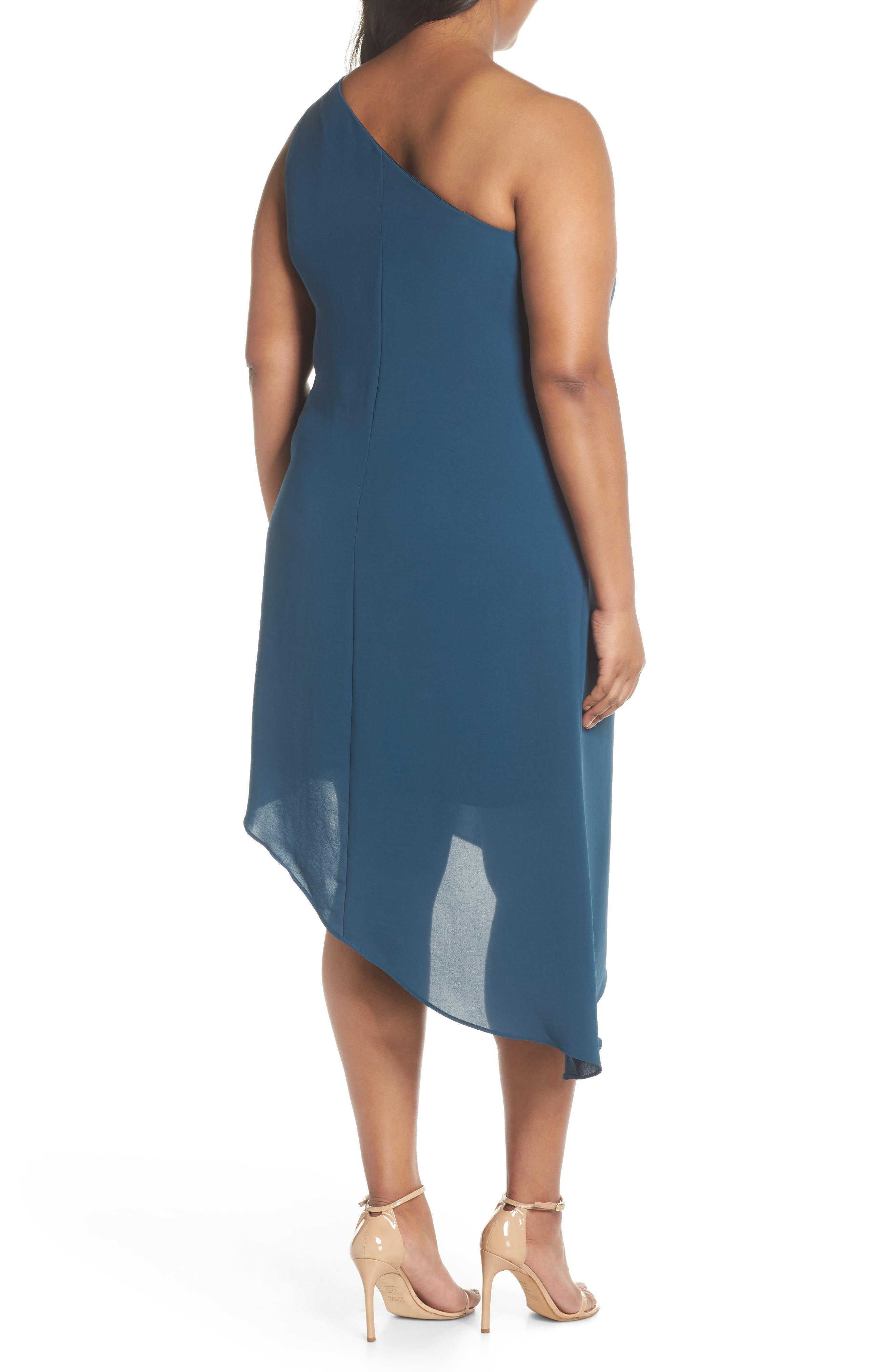 Gauzy One-Shoulder Crepe Dress,                             Alternate thumbnail 2, color,                             Midnight Jungle