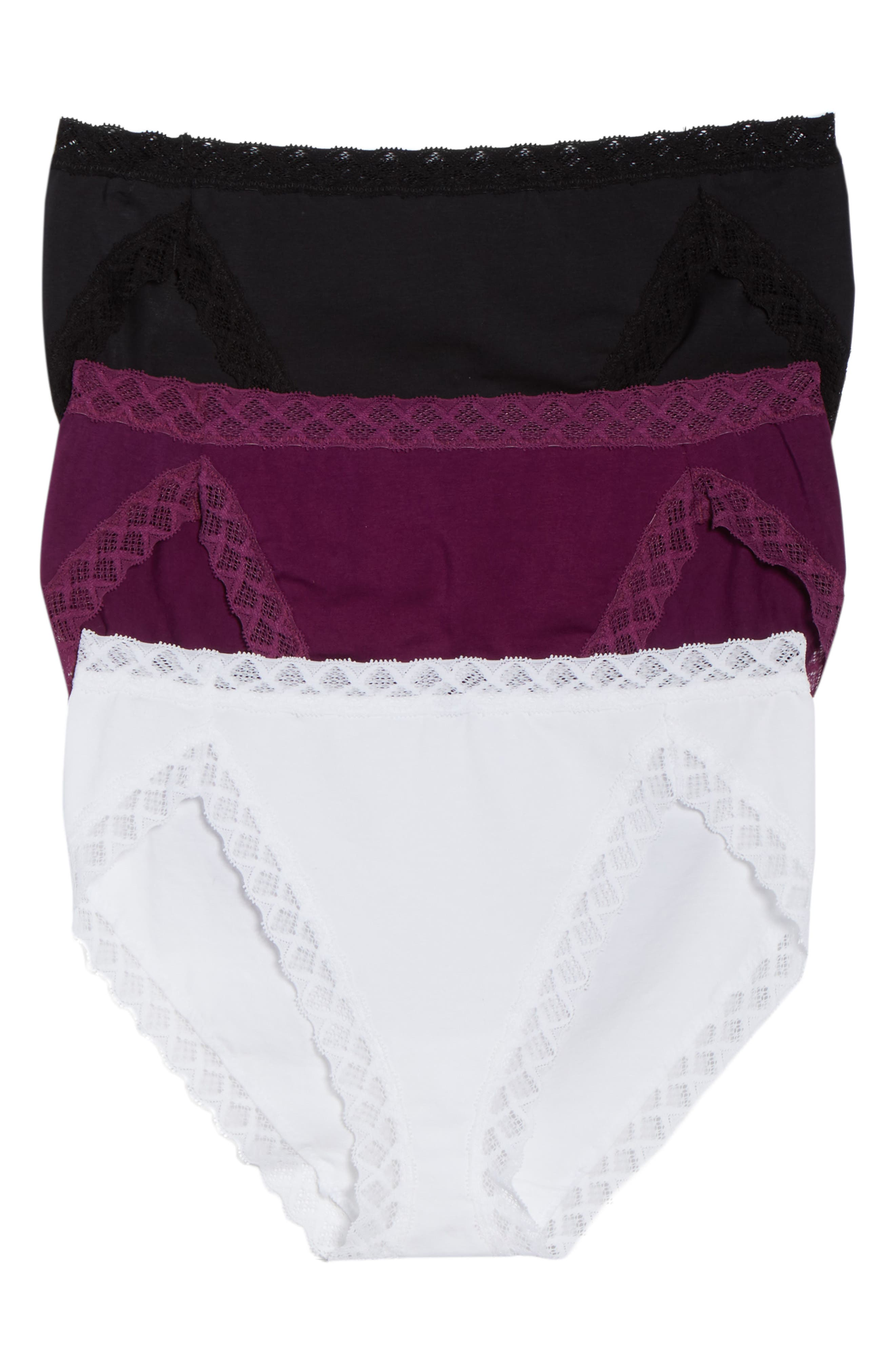 'Bliss' French Cut Briefs,                         Main,                         color, Imperial Purple/ Black/ White