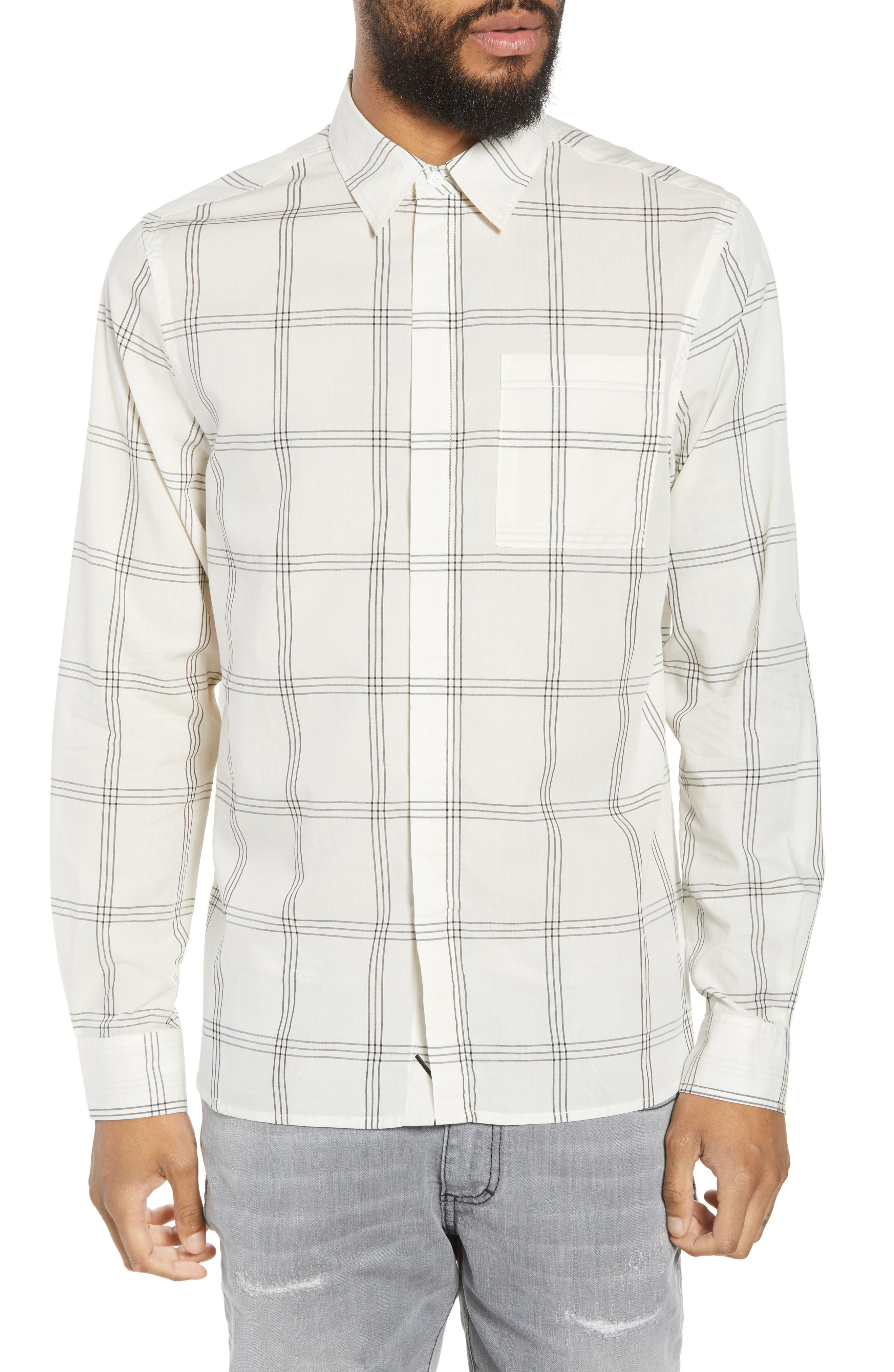 Mickey Windowpane Woven Shirt,                         Main,                         color, White