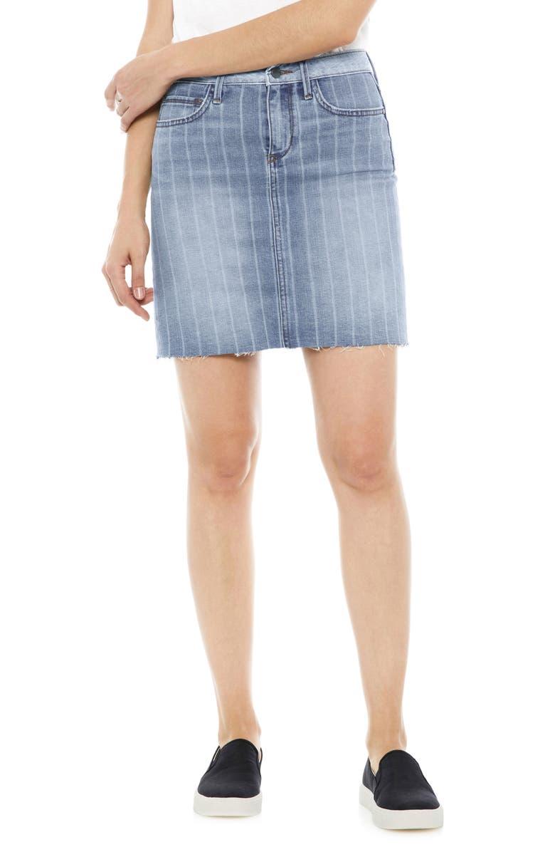 The Jenny Laser Stripe Denim Miniskirt
