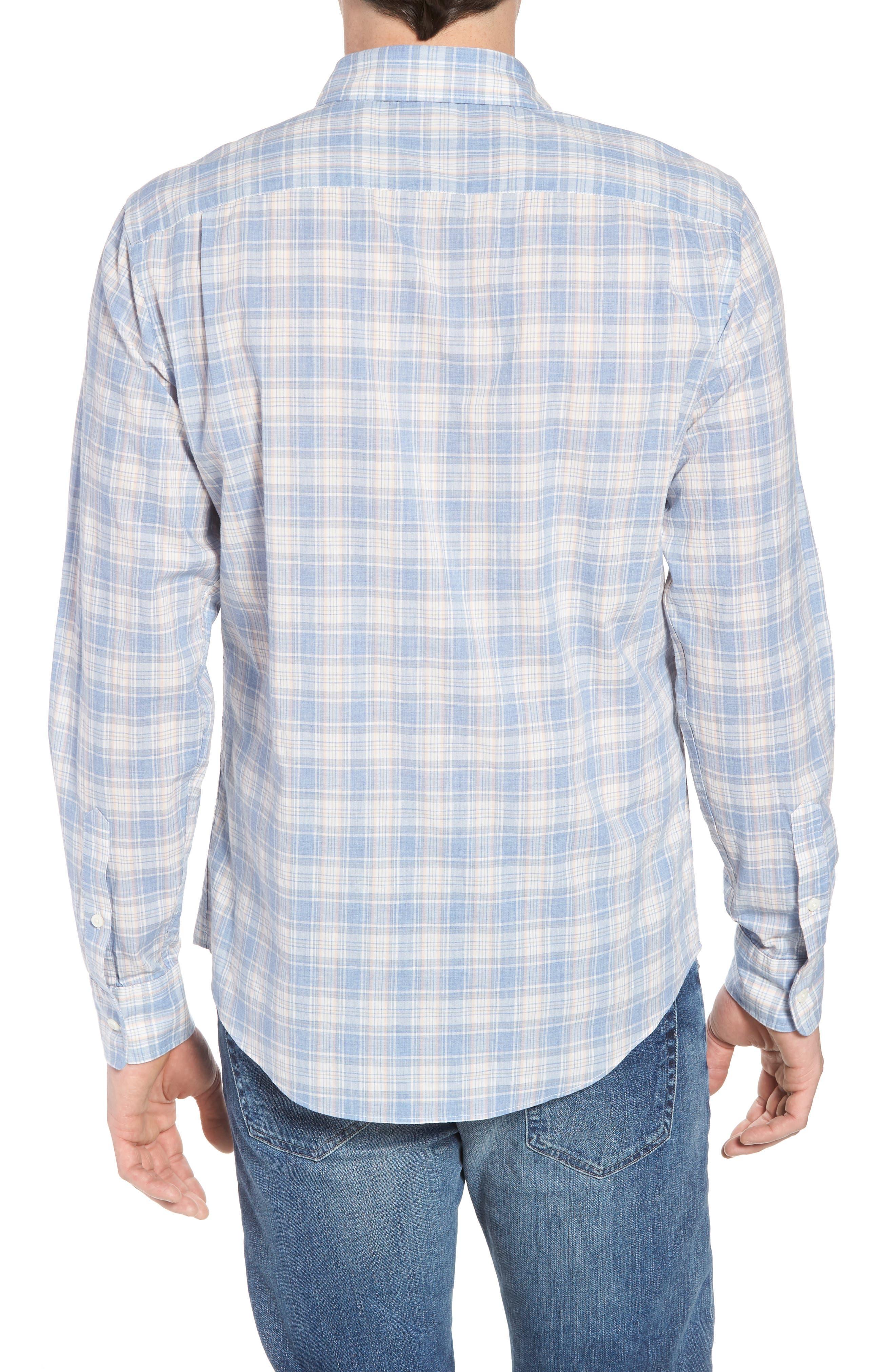 Ventura Plaid Sport Shirt,                             Alternate thumbnail 3, color,                             Blue Coral Grey