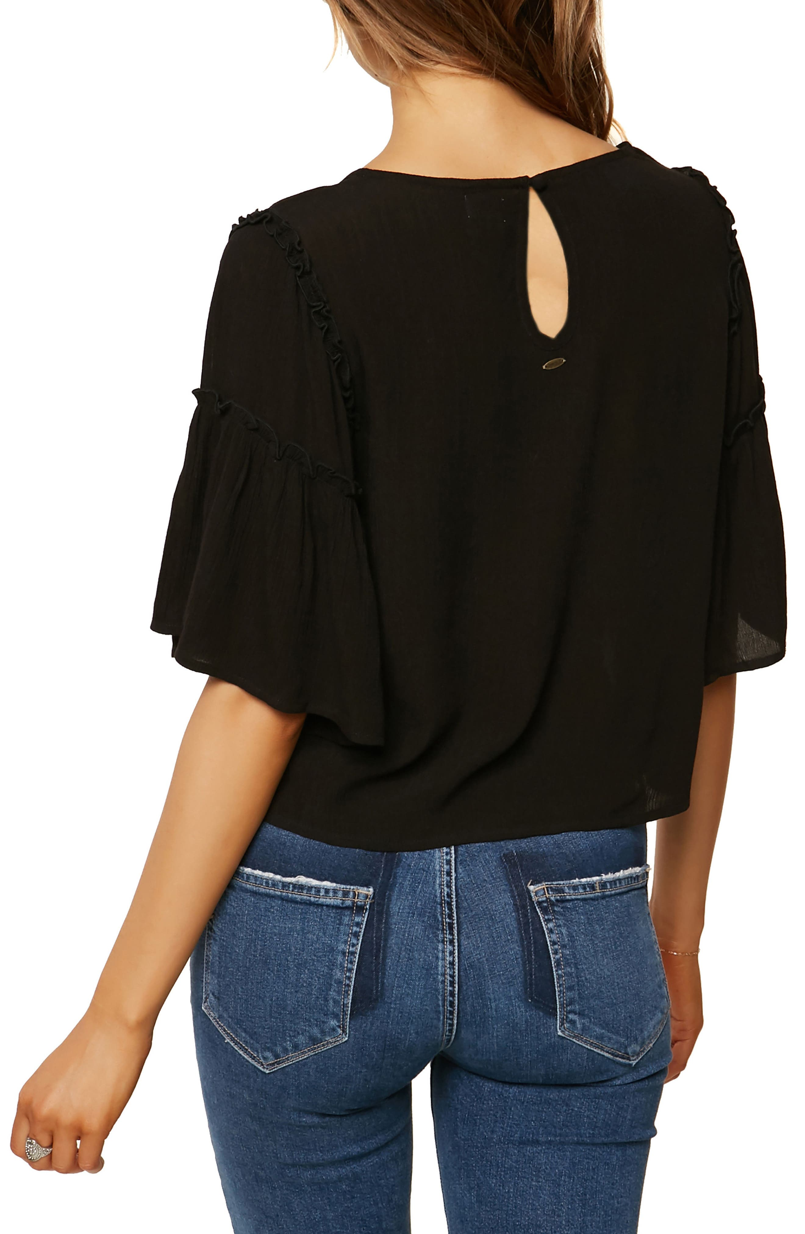 Brea Bell Sleeve Top,                             Alternate thumbnail 2, color,                             Black
