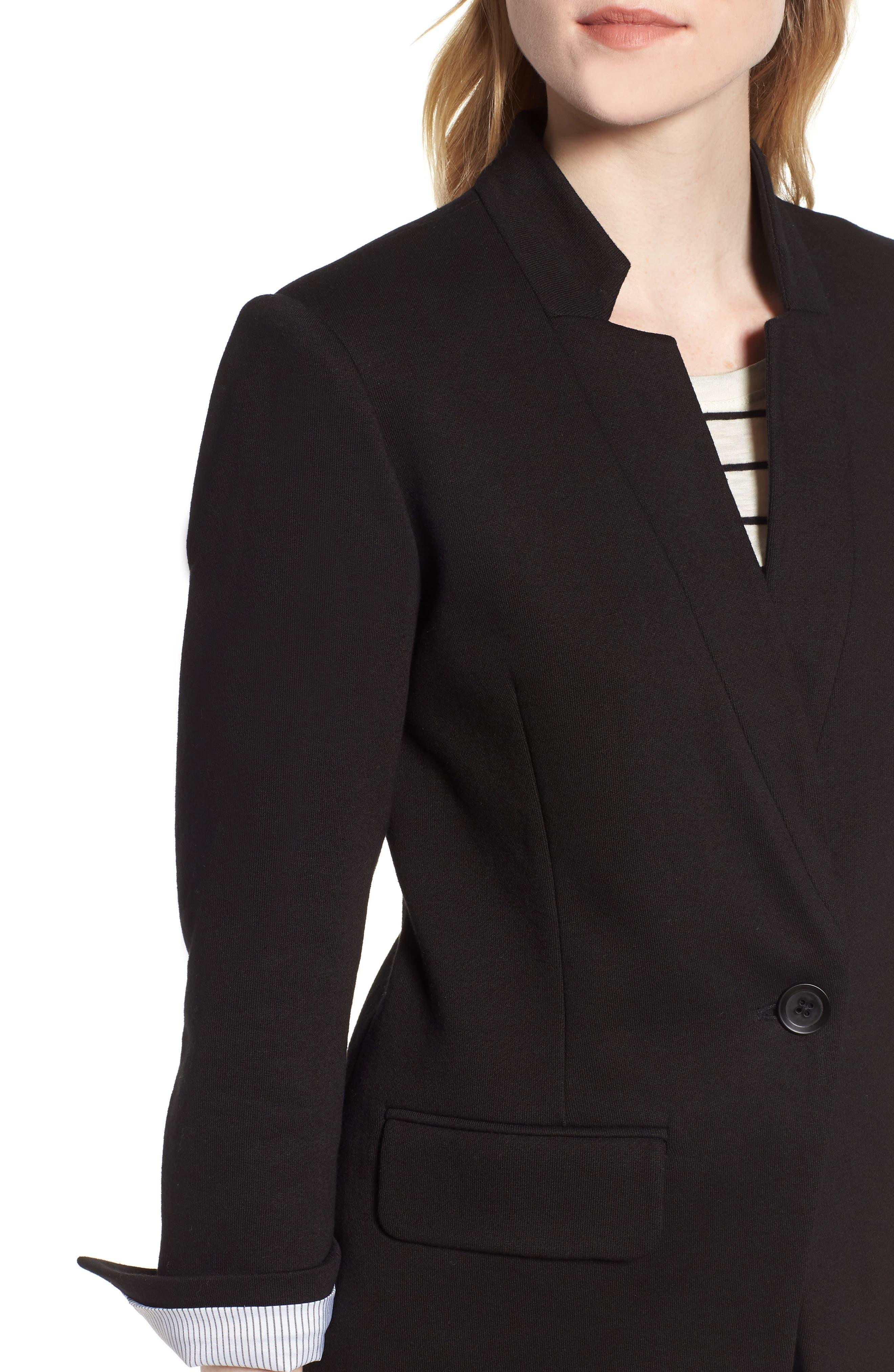 Cotton Blend Knit Blazer,                             Alternate thumbnail 4, color,                             Black