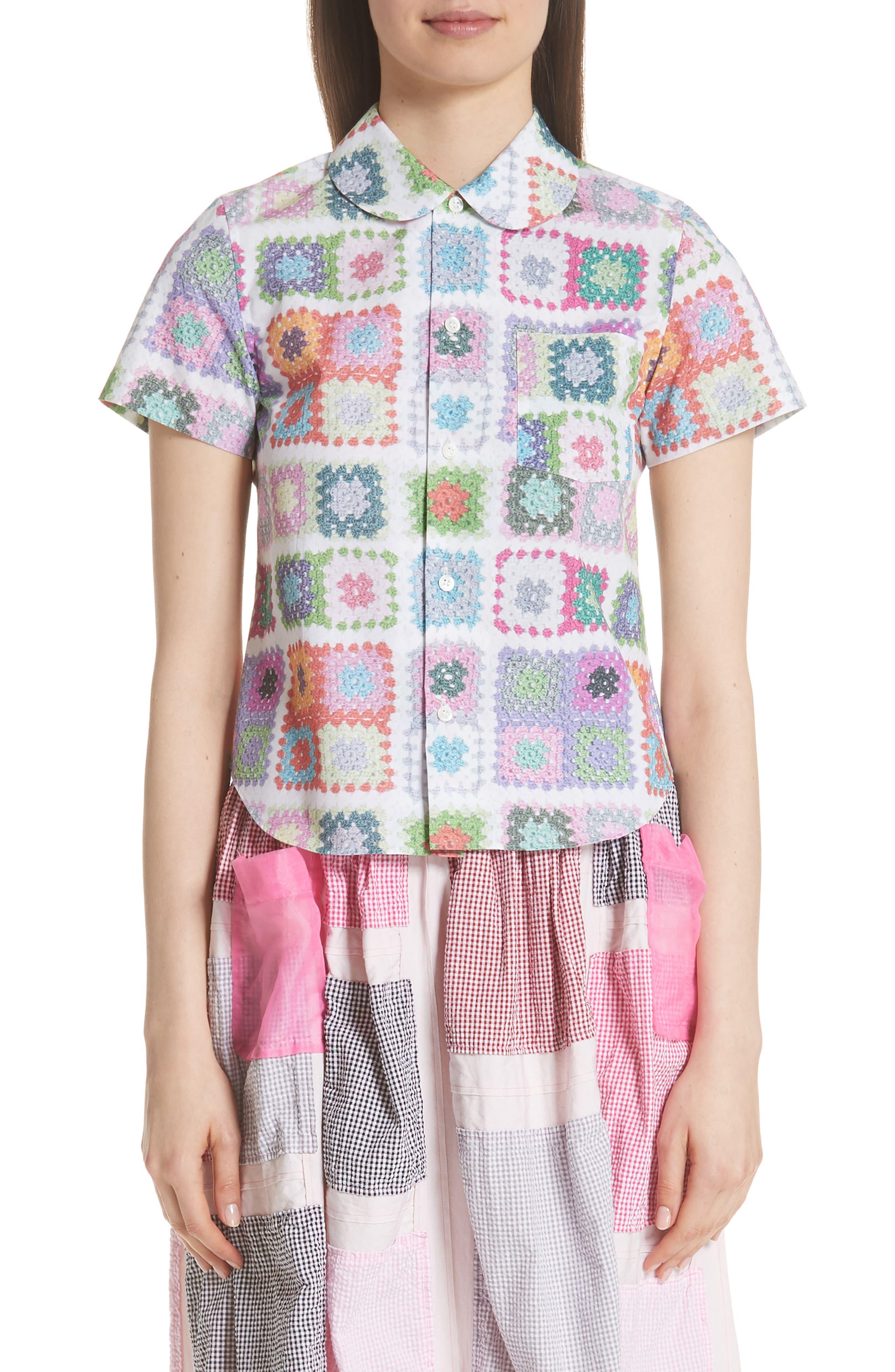 Tricot Comme des Garçons Crochet Print Top