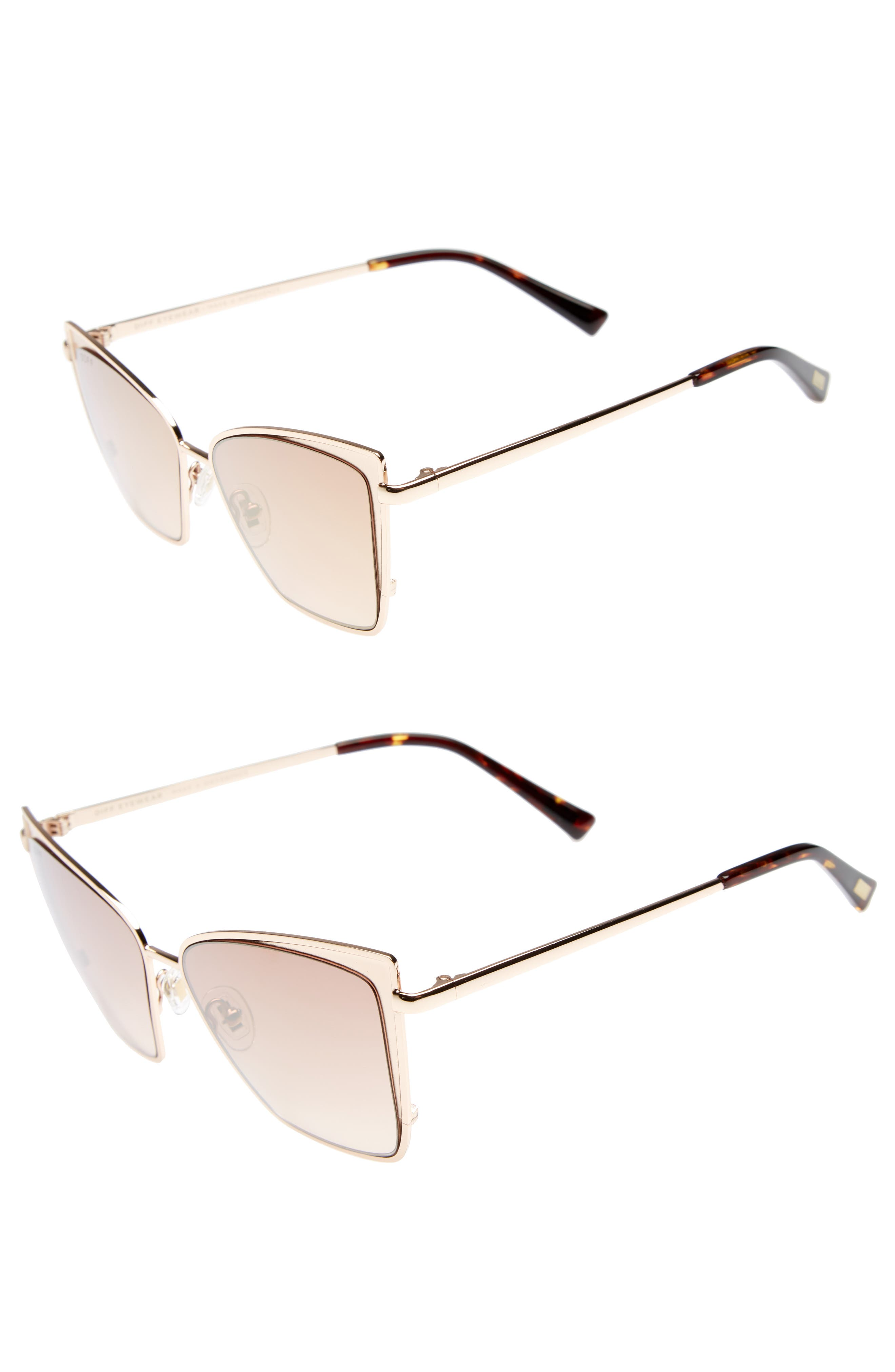 Mommy & Me Becky 2-Pack Cat Eye Sunglasses,                             Alternate thumbnail 2, color,                             Gold/ Brown