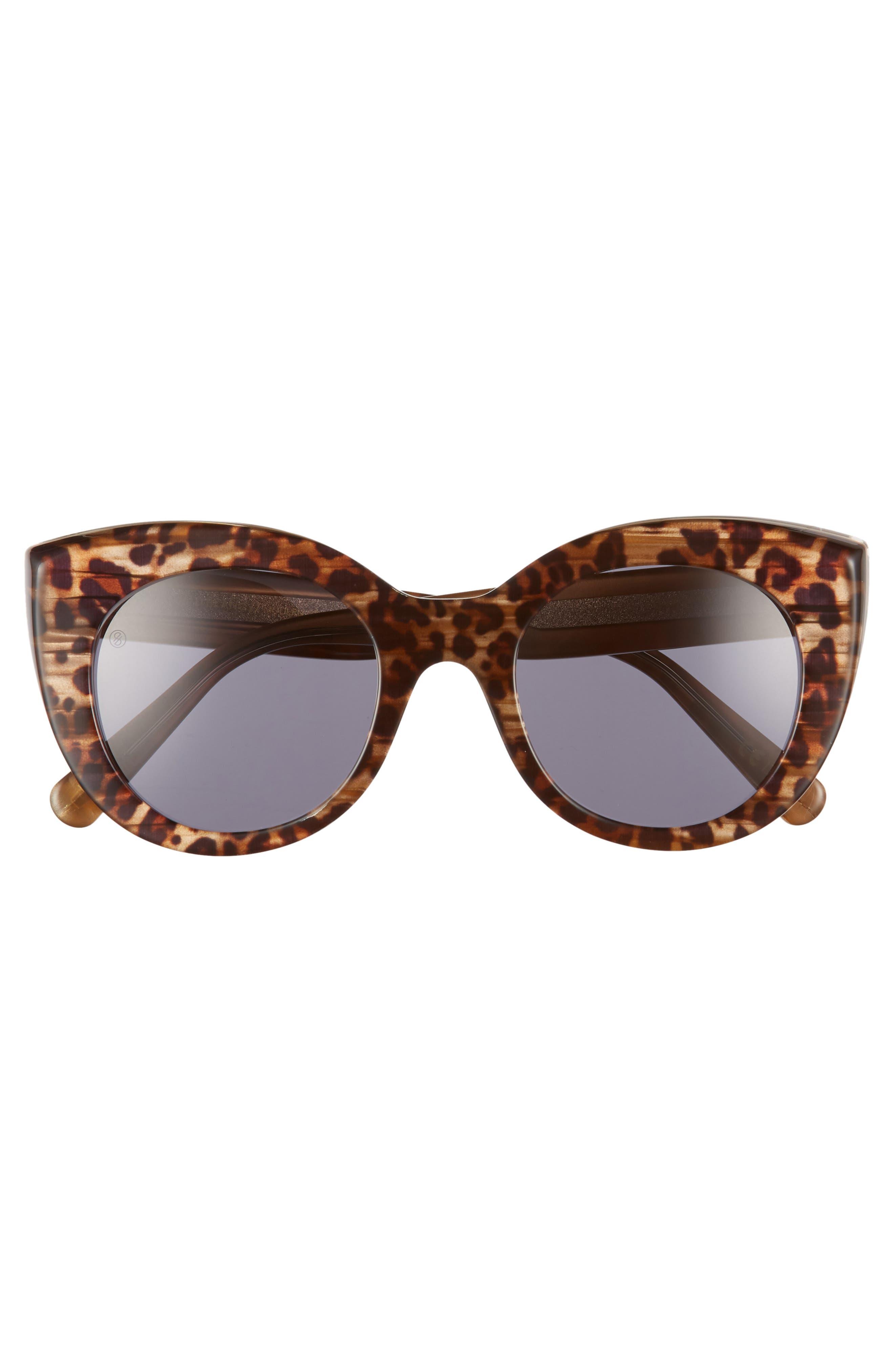 D'BLANC x Amuse Society Modern Lover 51mm Cat Eye Sunglasses,                             Alternate thumbnail 3, color,                             Cheetah/ Grey