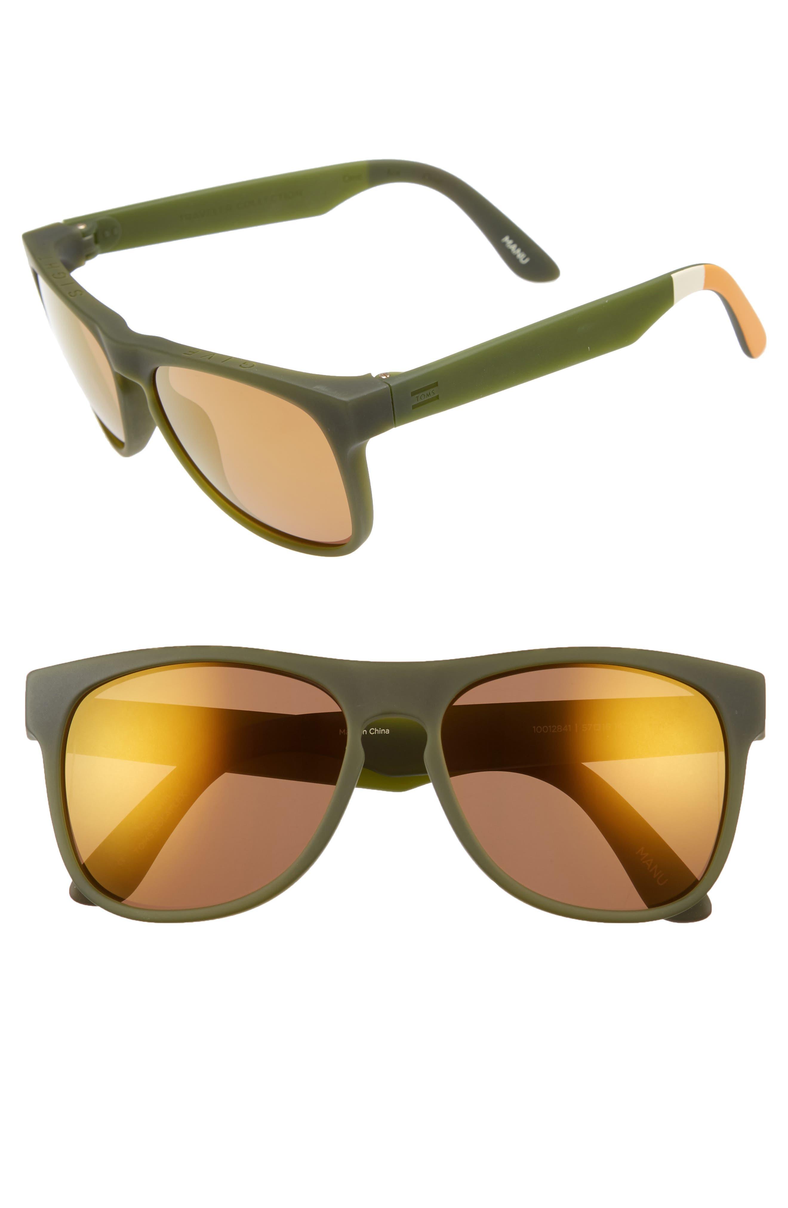 Manu 57Mm Sunglasses in Matte Rifle Green/ Gold Mirror