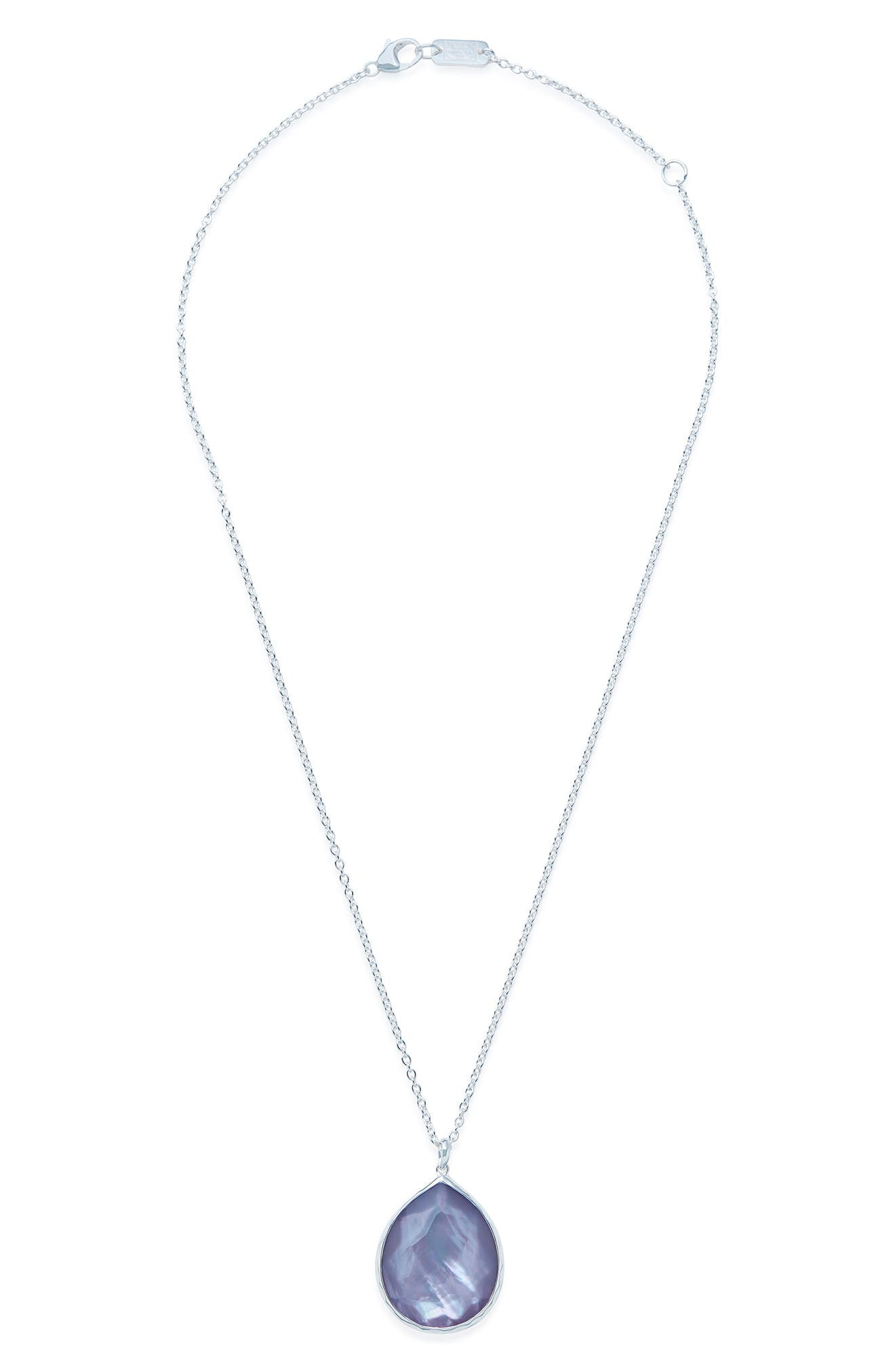 'Wonderland' Large Teardrop Pendant Necklace,                             Main thumbnail 1, color,                             Silver/ Periwinkle