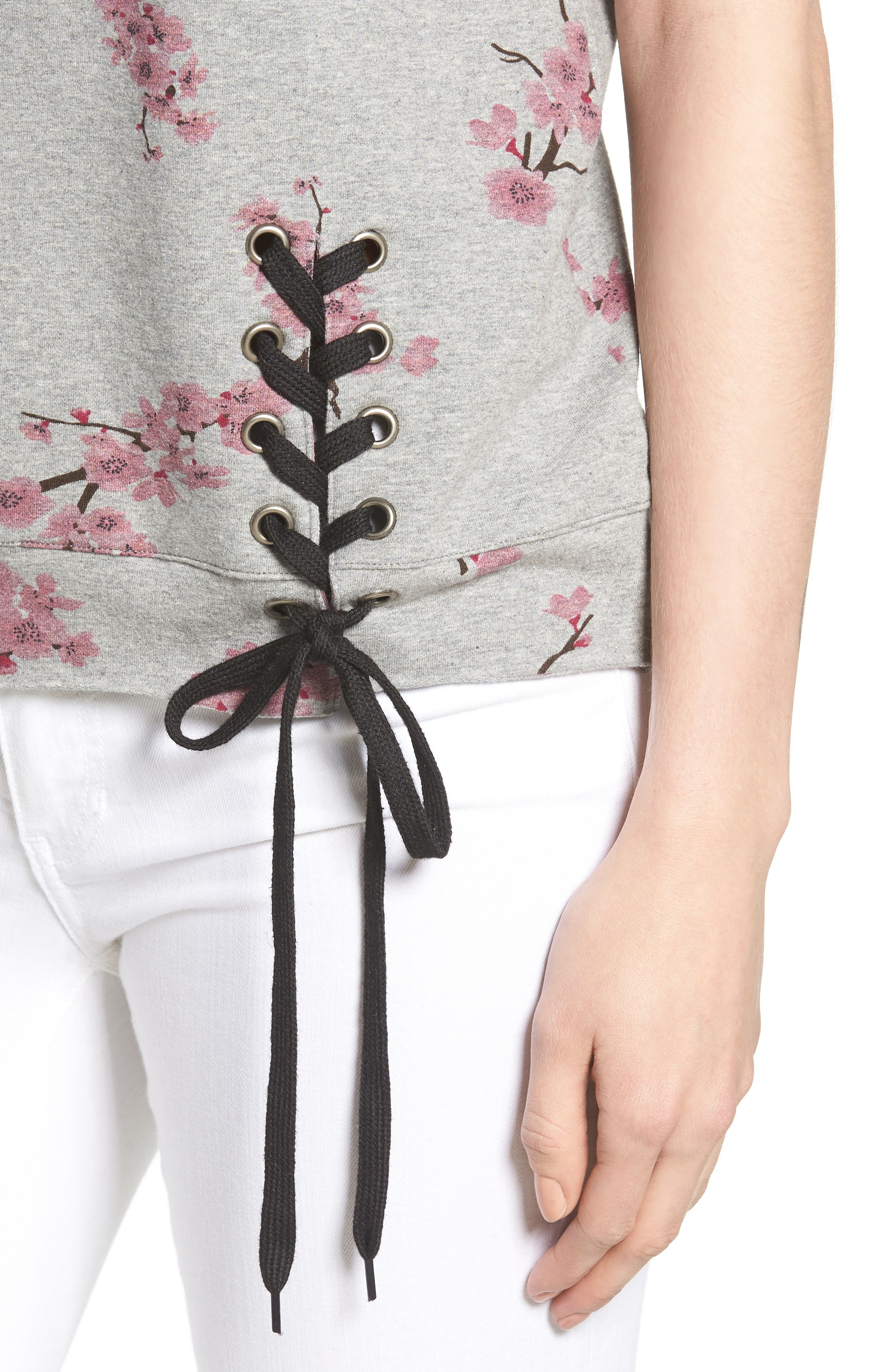 Short Sleeve Lace Up Cherry Blossom Sweatshirt,                             Alternate thumbnail 4, color,                             Grey Cherry Blossom