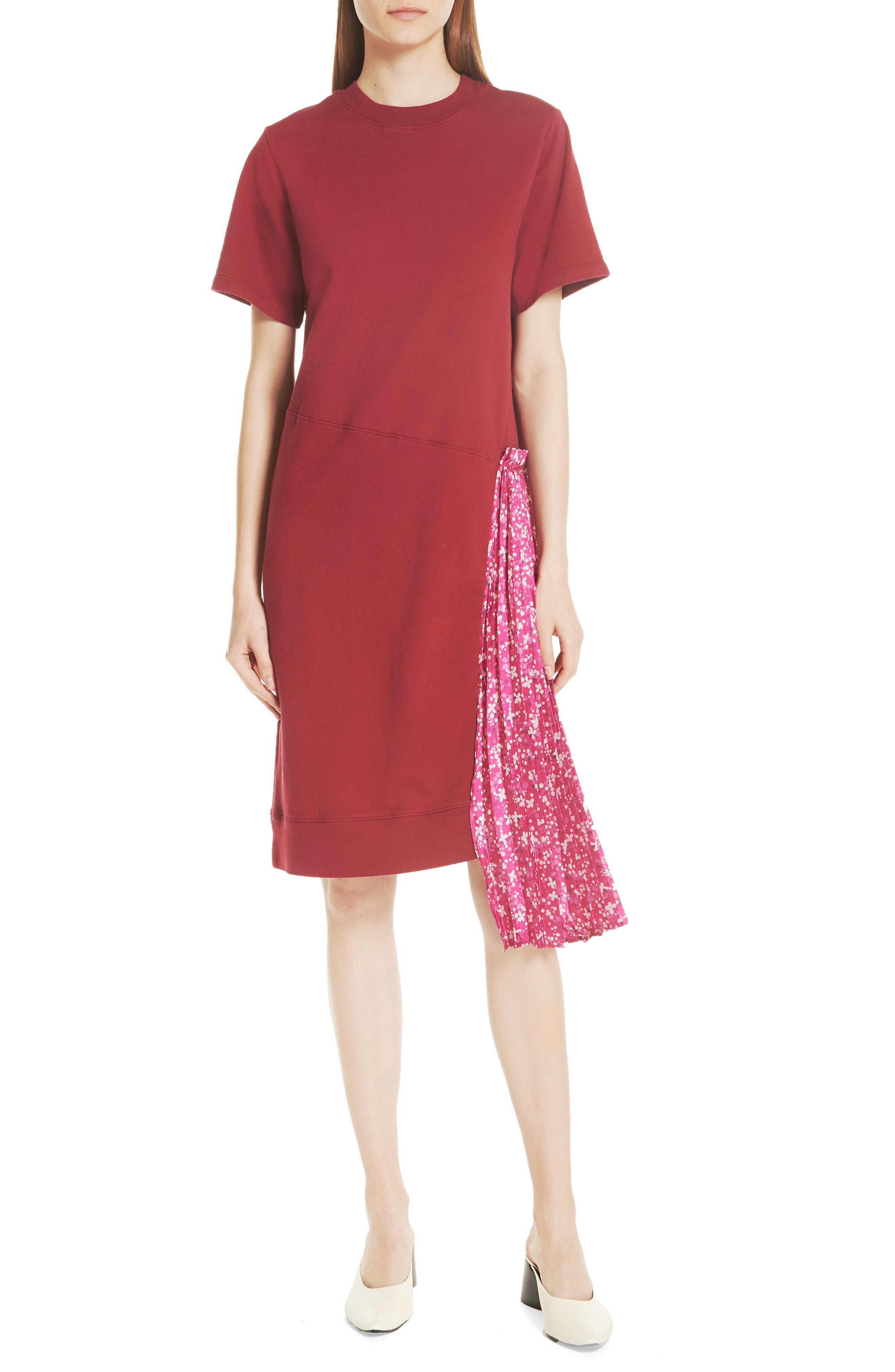 Floral Side Pleat Dress,                         Main,                         color, Carmine