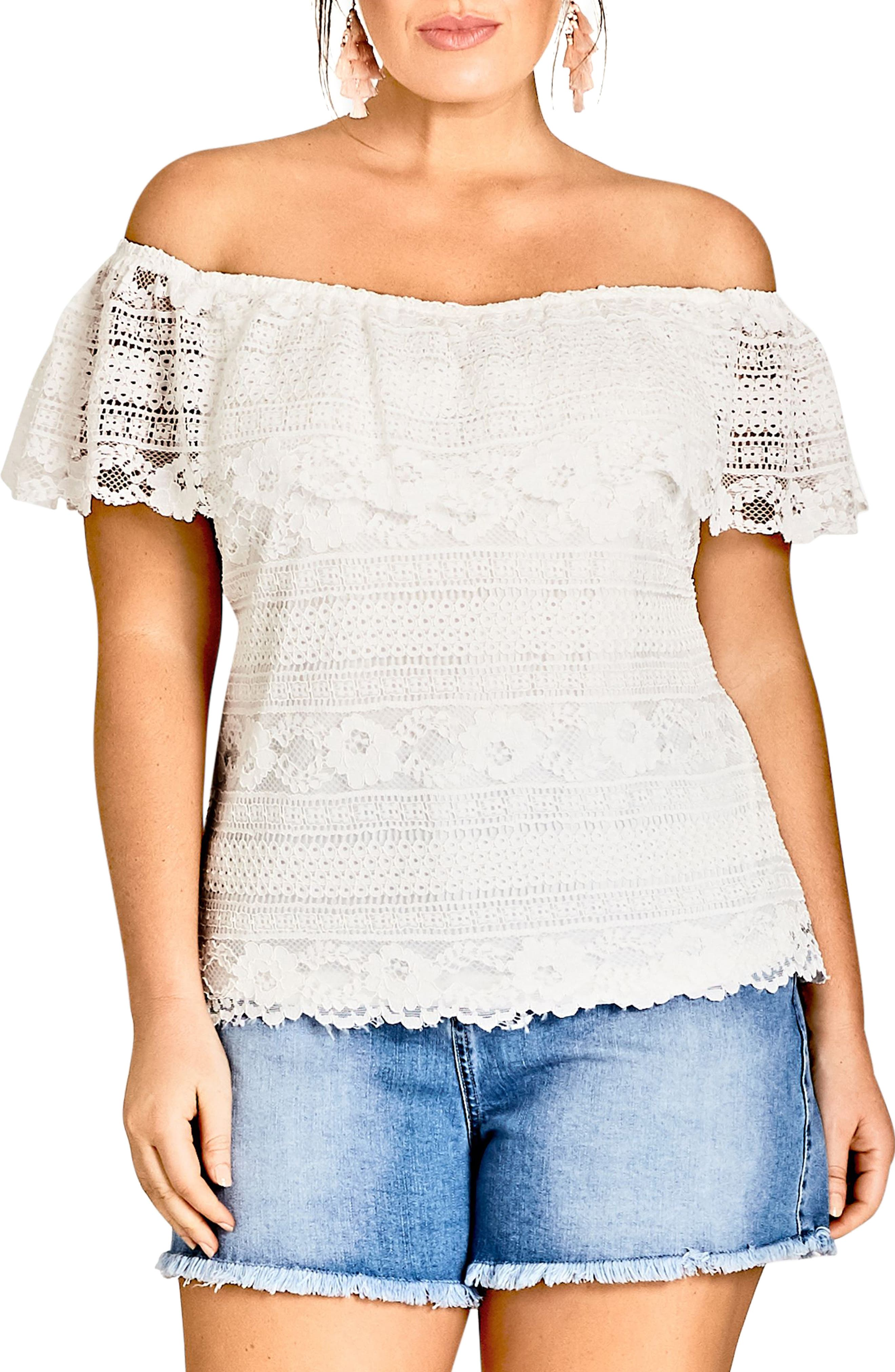 Summer Frill Lace Off the Shoulder Top,                             Main thumbnail 1, color,                             Ivory