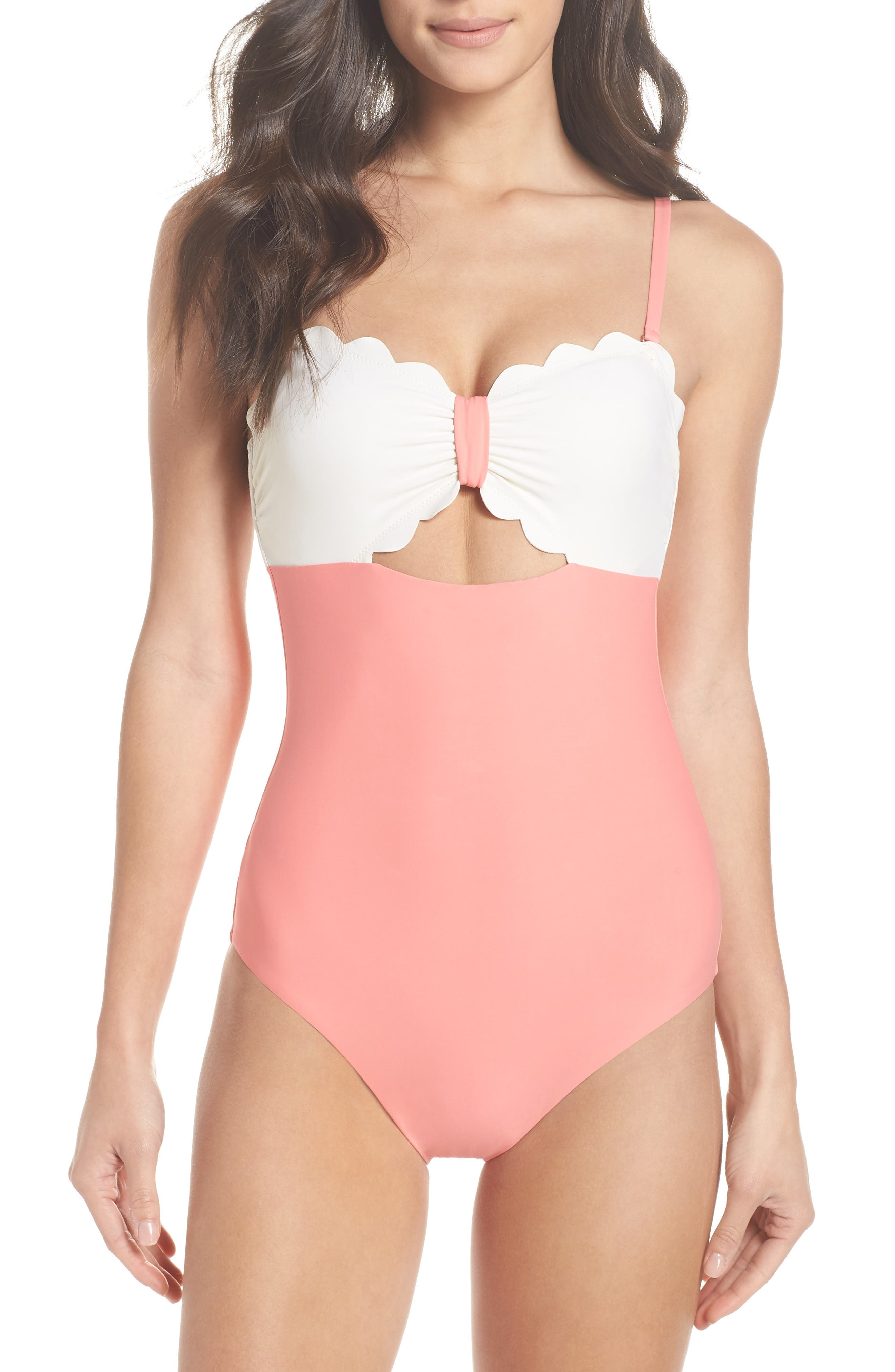 Scallop Bandeau One-Piece Swimsuit,                         Main,                         color, Coral Shell / Ivory Egret