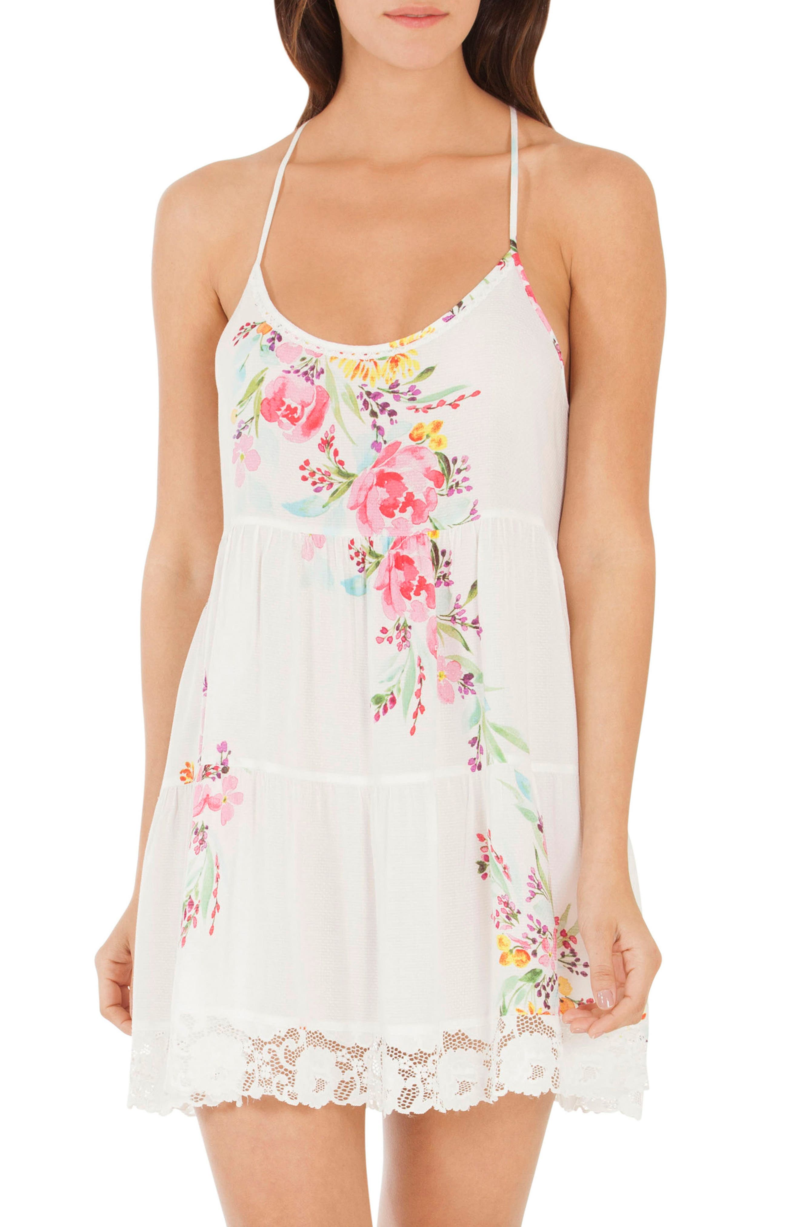 Lace Chemise,                         Main,                         color, Ivory Ground Aqua Rose Print