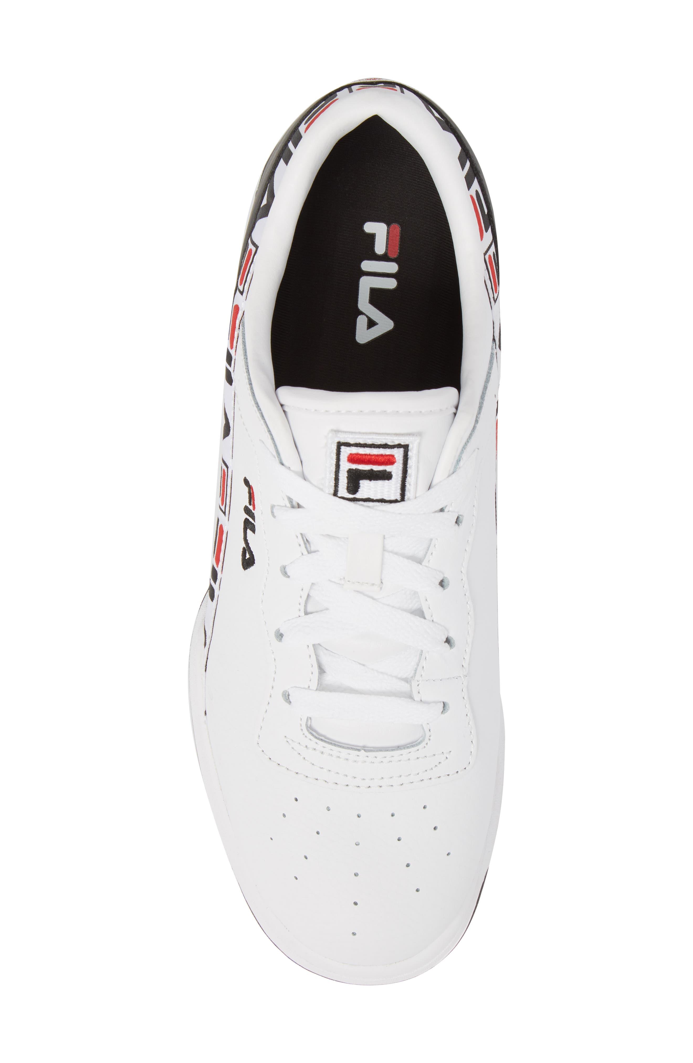 Original Fitness Logo Tape Sneaker,                             Alternate thumbnail 5, color,                             White/ Black/ Fila Red