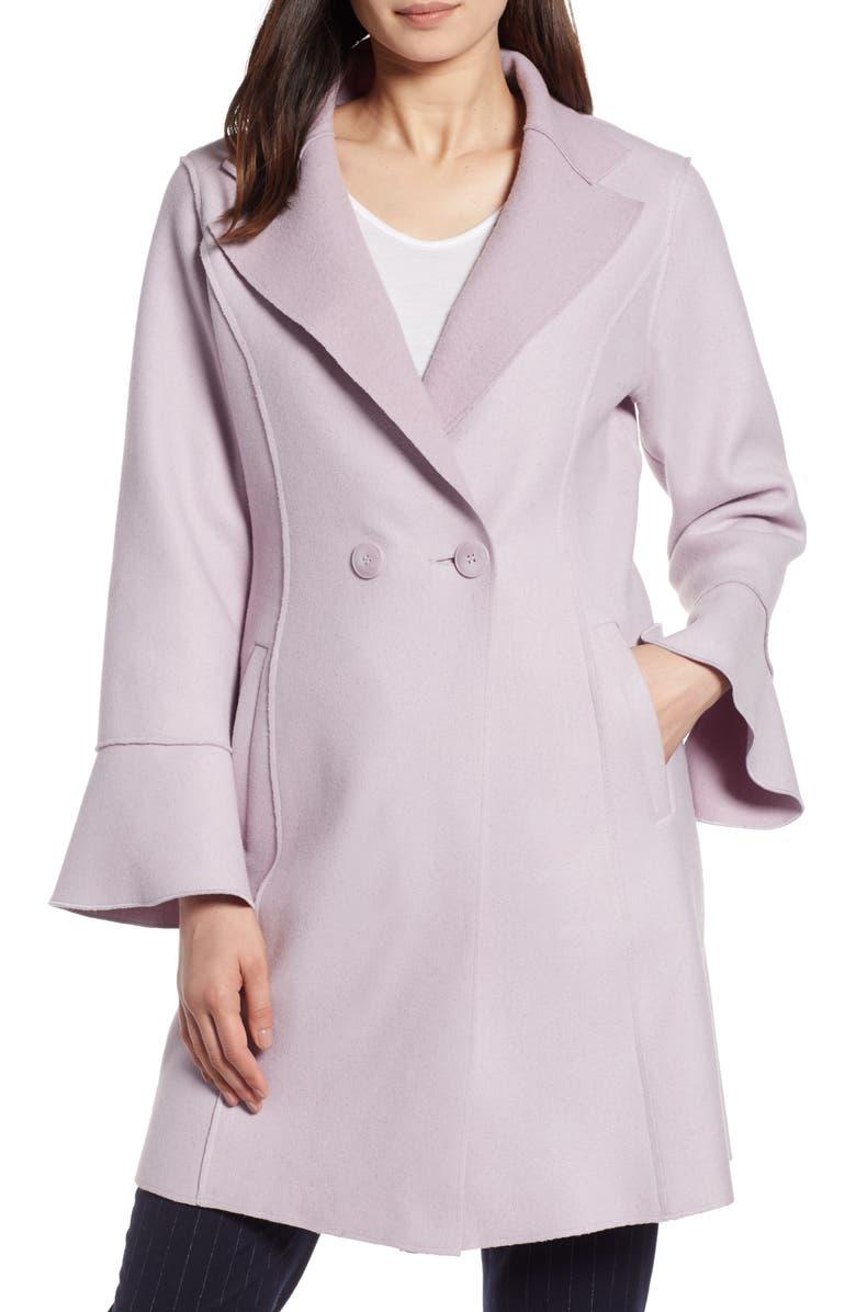 Raw Edge Bell Sleeve Coat