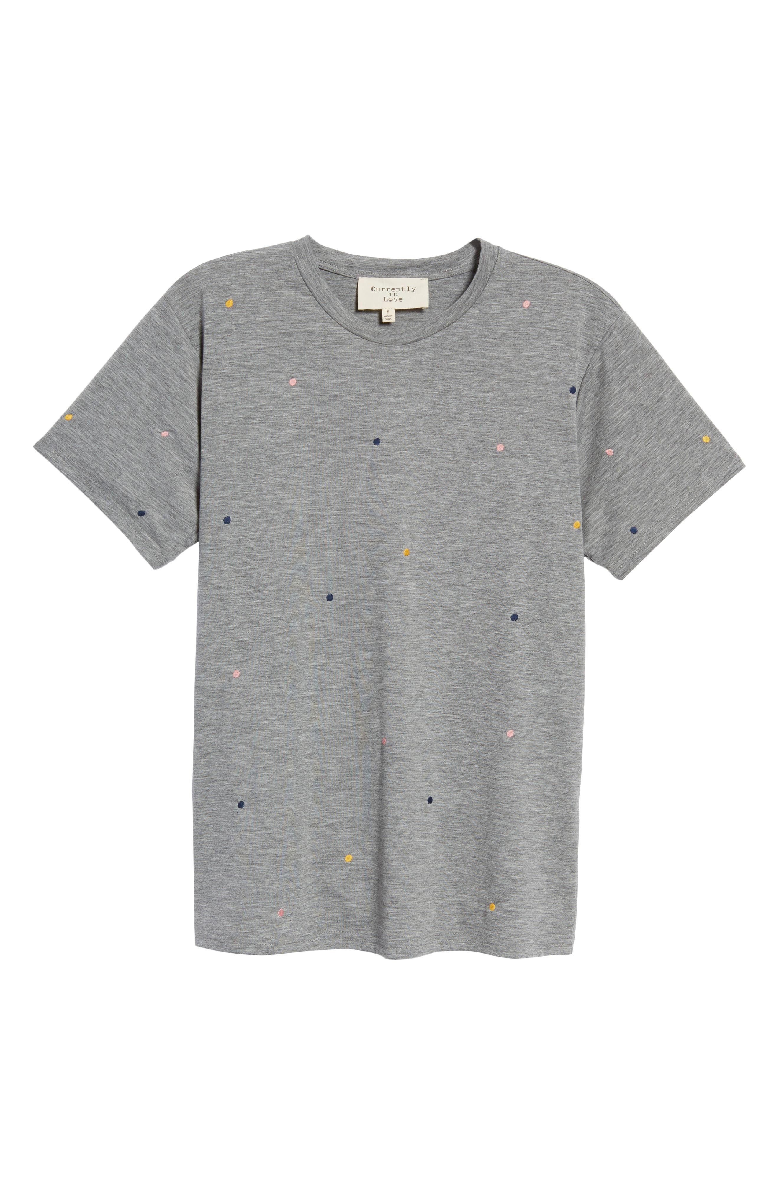 Embroidered Polka Dot Tee,                             Alternate thumbnail 6, color,                             Grey