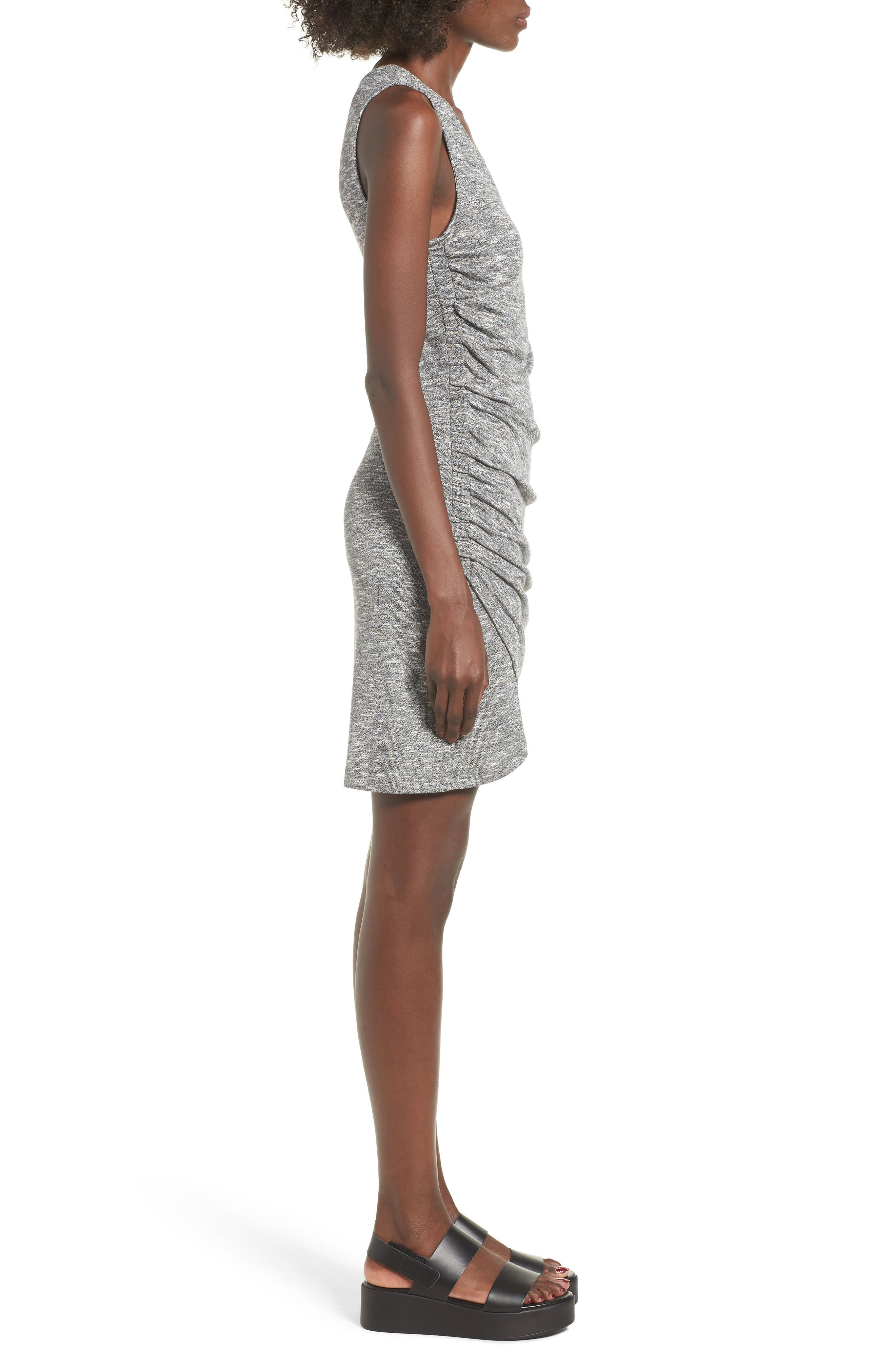 Ruched Tank Dress,                             Alternate thumbnail 3, color,                             Heather Grey