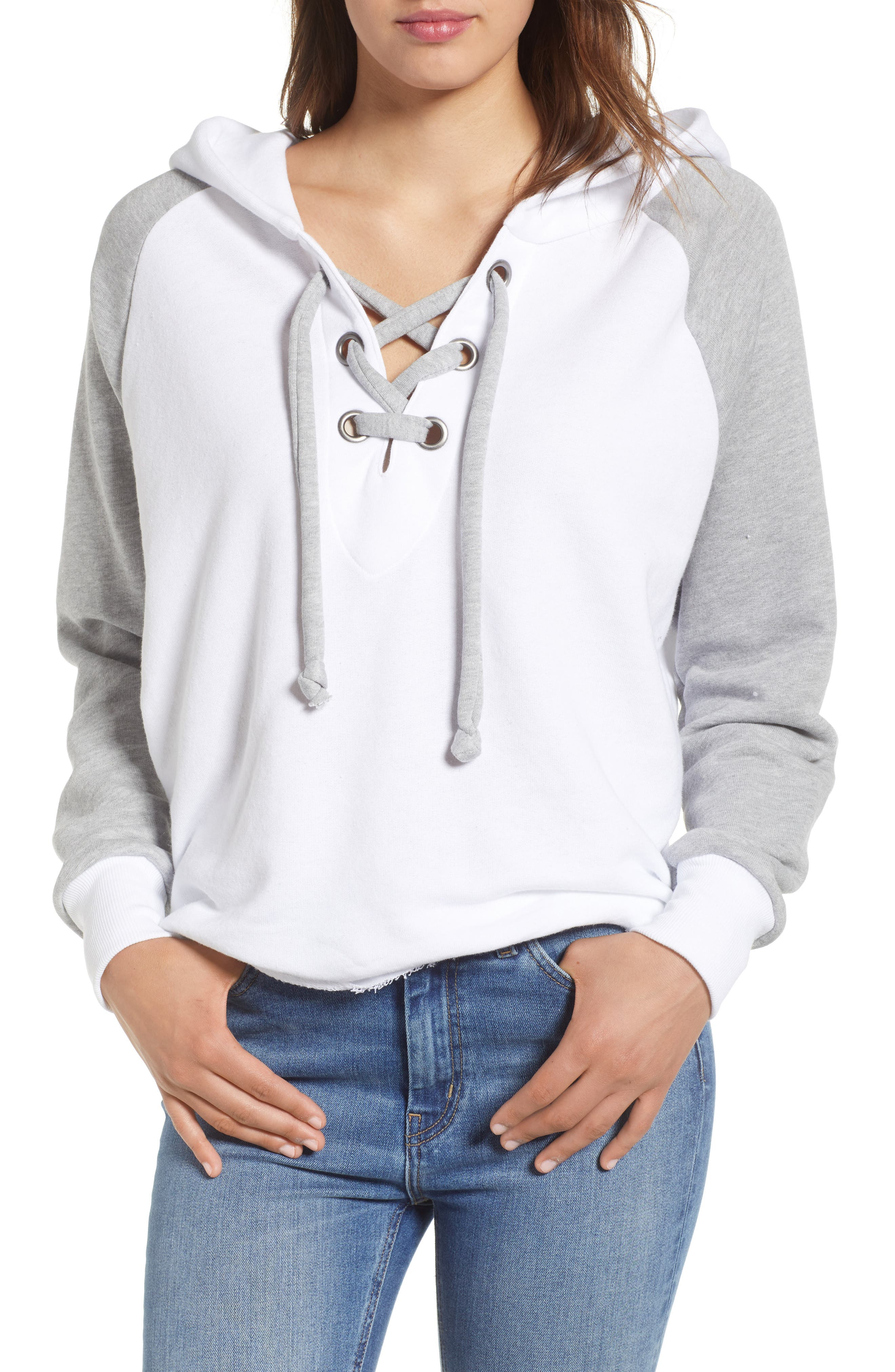 Contrast Hutton Hoodie,                         Main,                         color, Clean White/ Heather