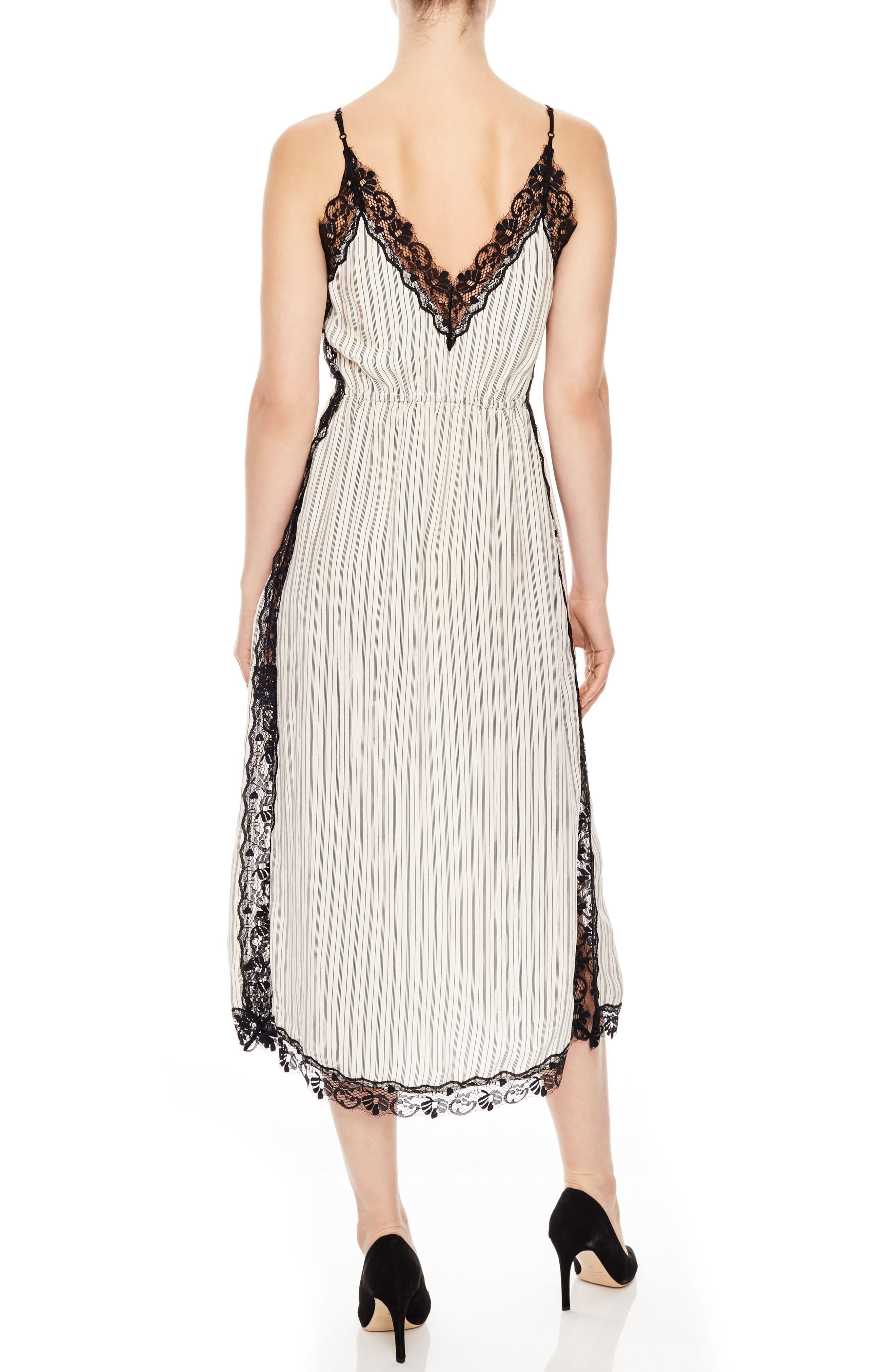 Stripe Lace Dress,                             Alternate thumbnail 2, color,                             Ecru