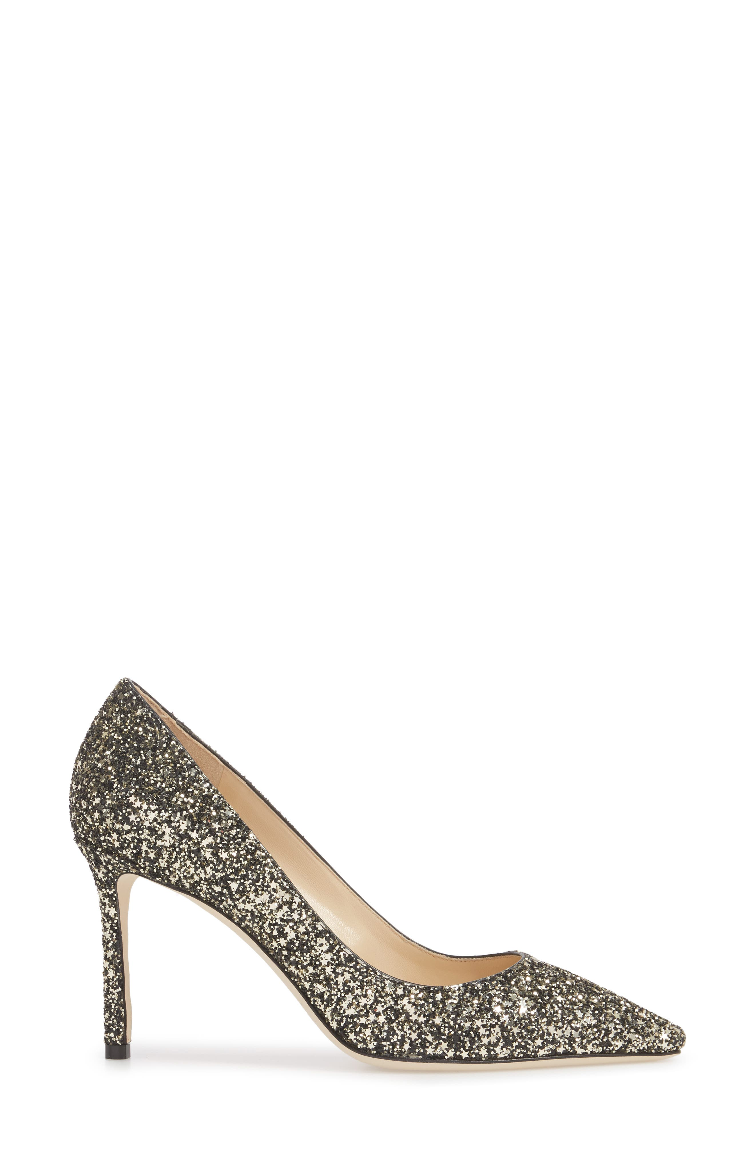 Romy Glitter Pointy Toe Pump,                             Alternate thumbnail 3, color,                             Gold Mix