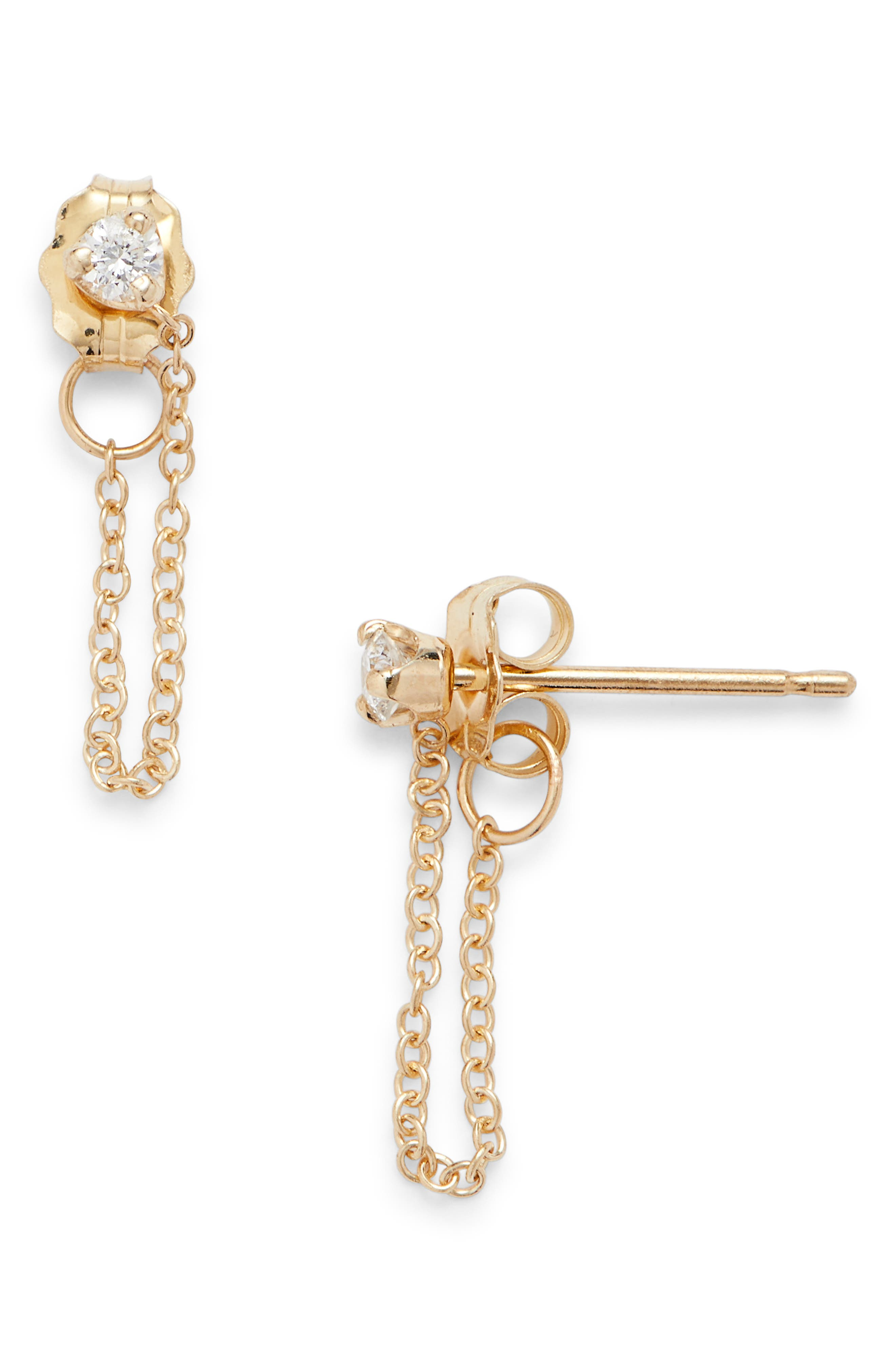 Diamond Chain Stud Earrings,                             Main thumbnail 1, color,                             Yellow Gold