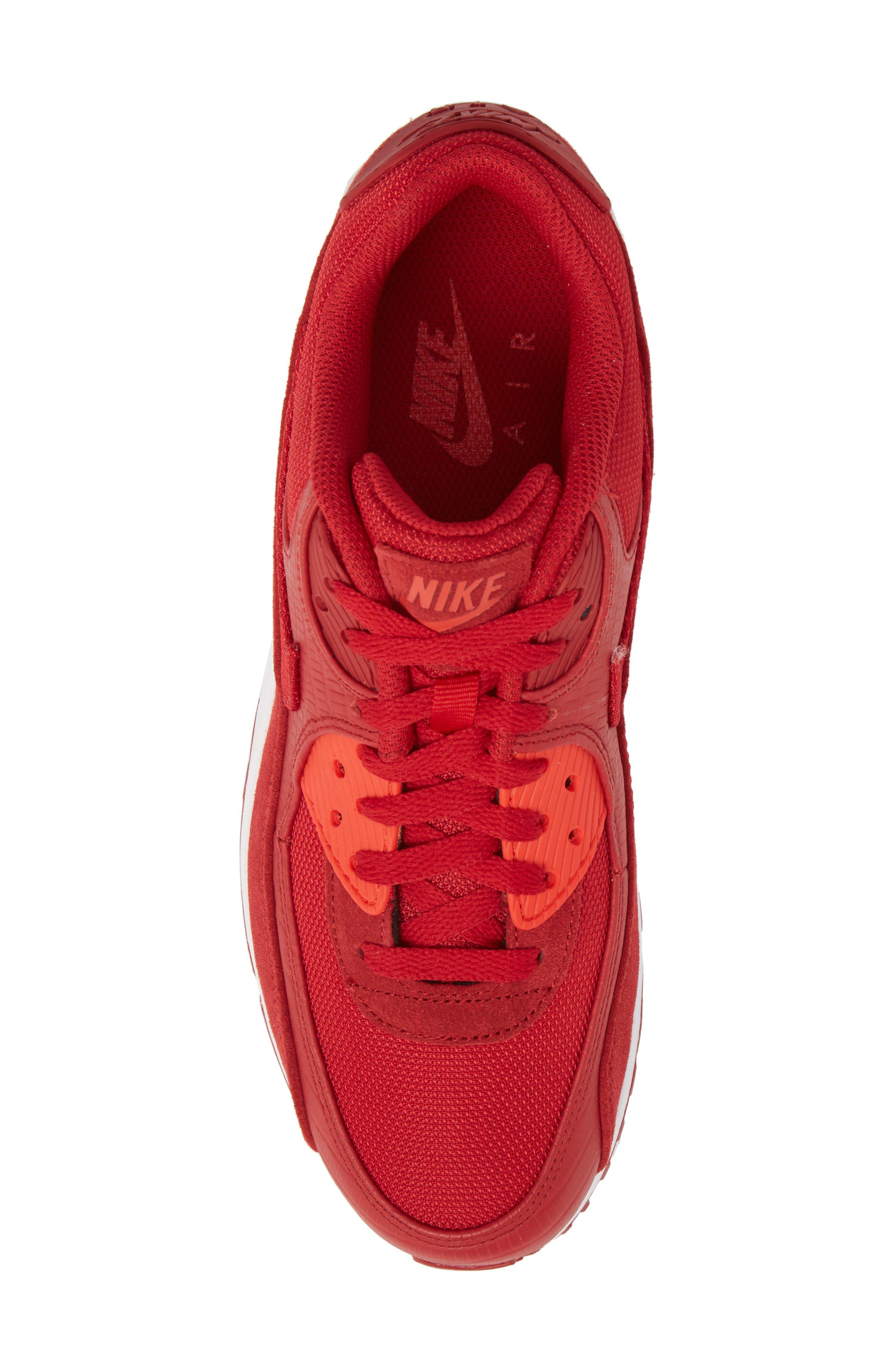 Air Max 90 Premium Sneaker,                             Alternate thumbnail 5, color,                             Gym Red/ White