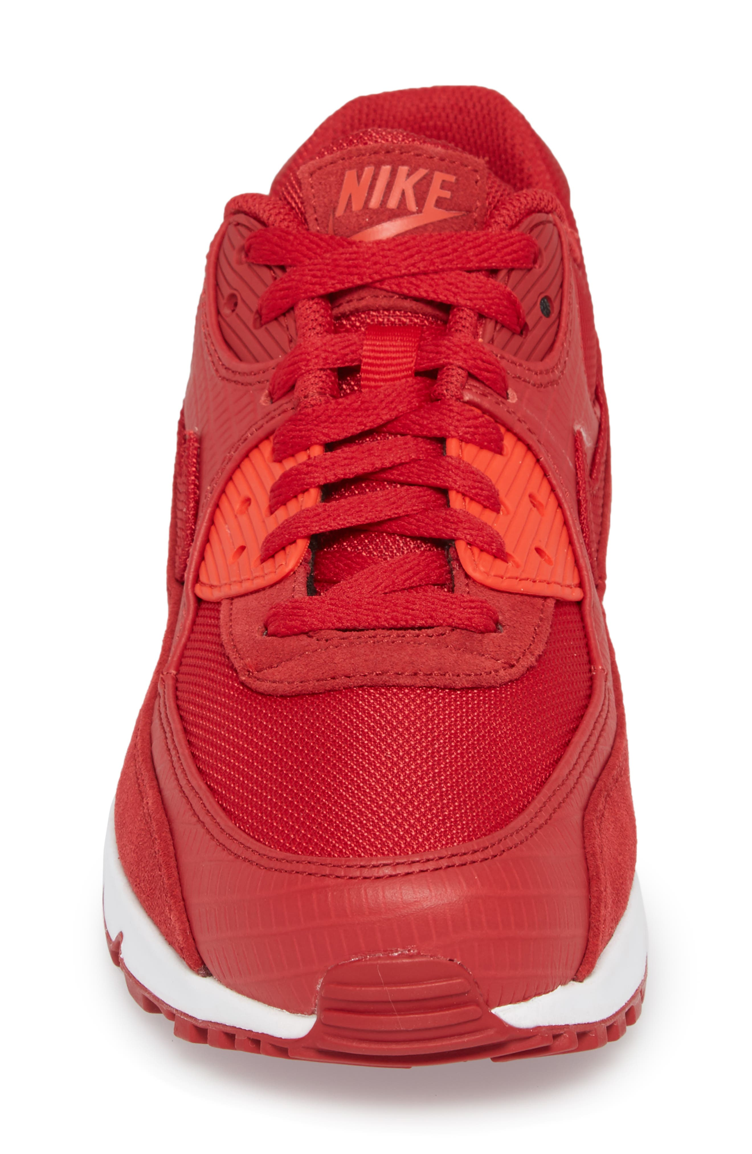 Air Max 90 Premium Sneaker,                             Alternate thumbnail 4, color,                             Gym Red/ White