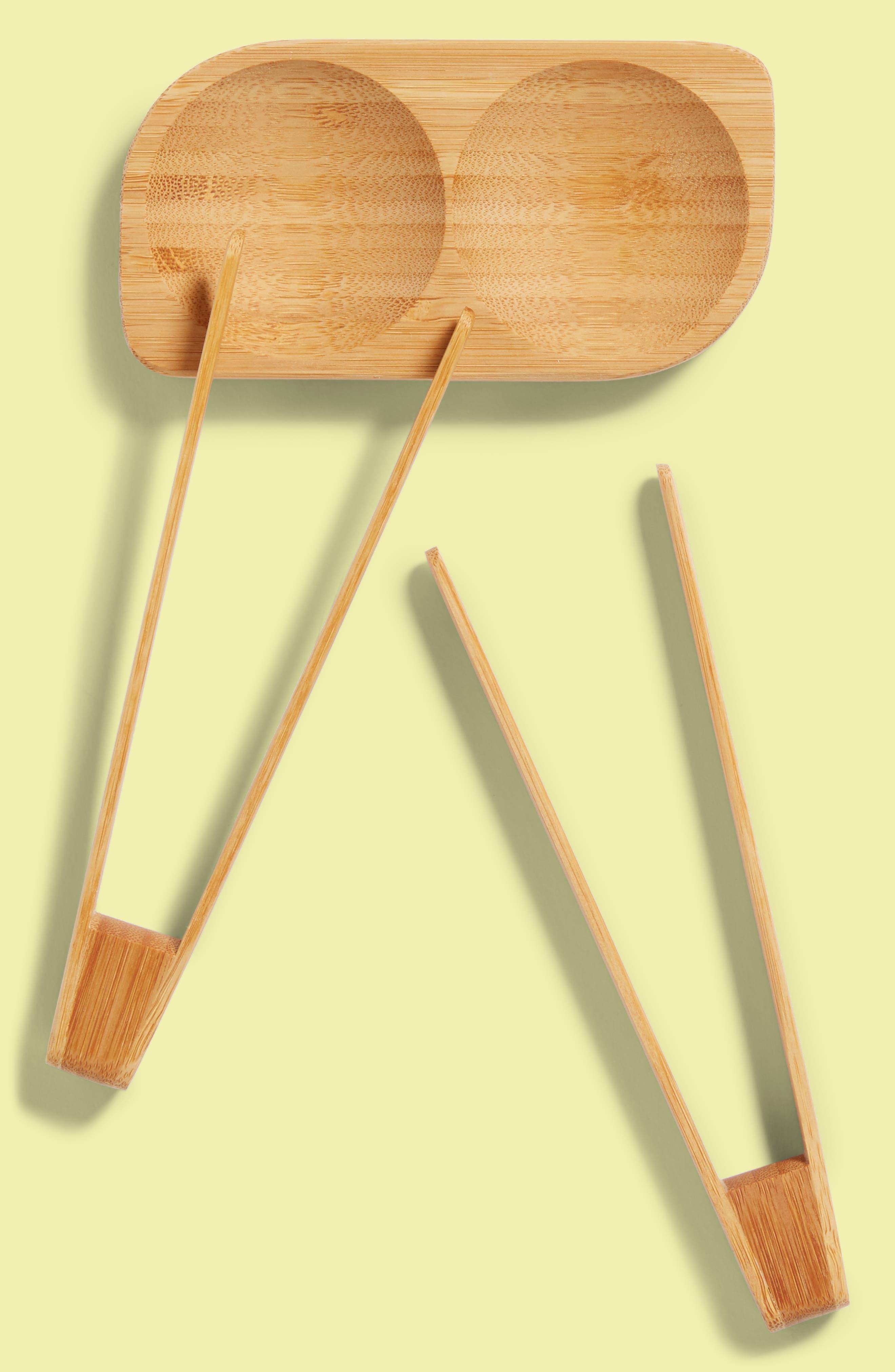 3-Piece Bamboo Sushi Tray & Songs Set,                             Main thumbnail 1, color,                             Natural