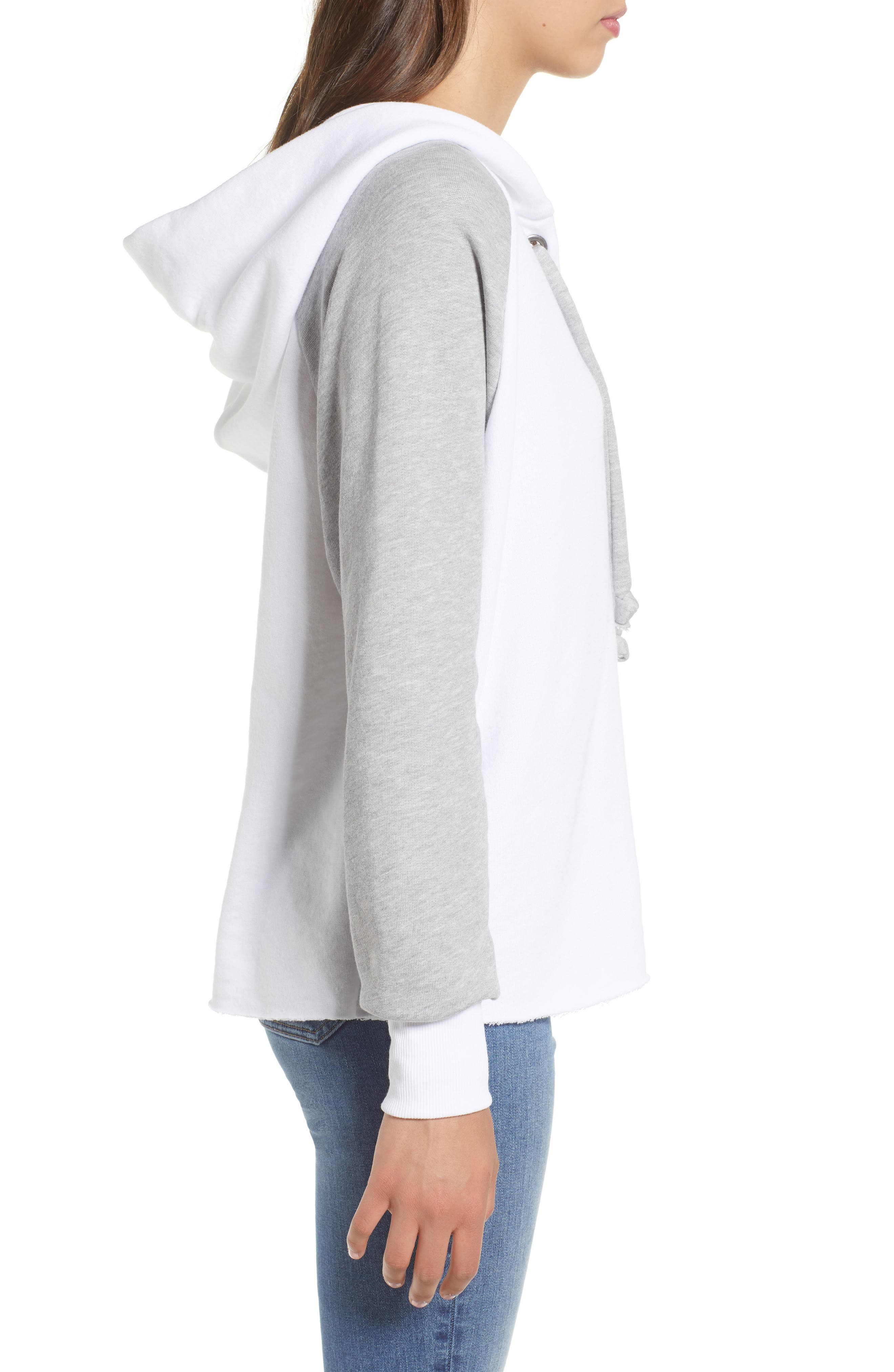 Contrast Hutton Hoodie,                             Alternate thumbnail 3, color,                             Clean White/ Heather
