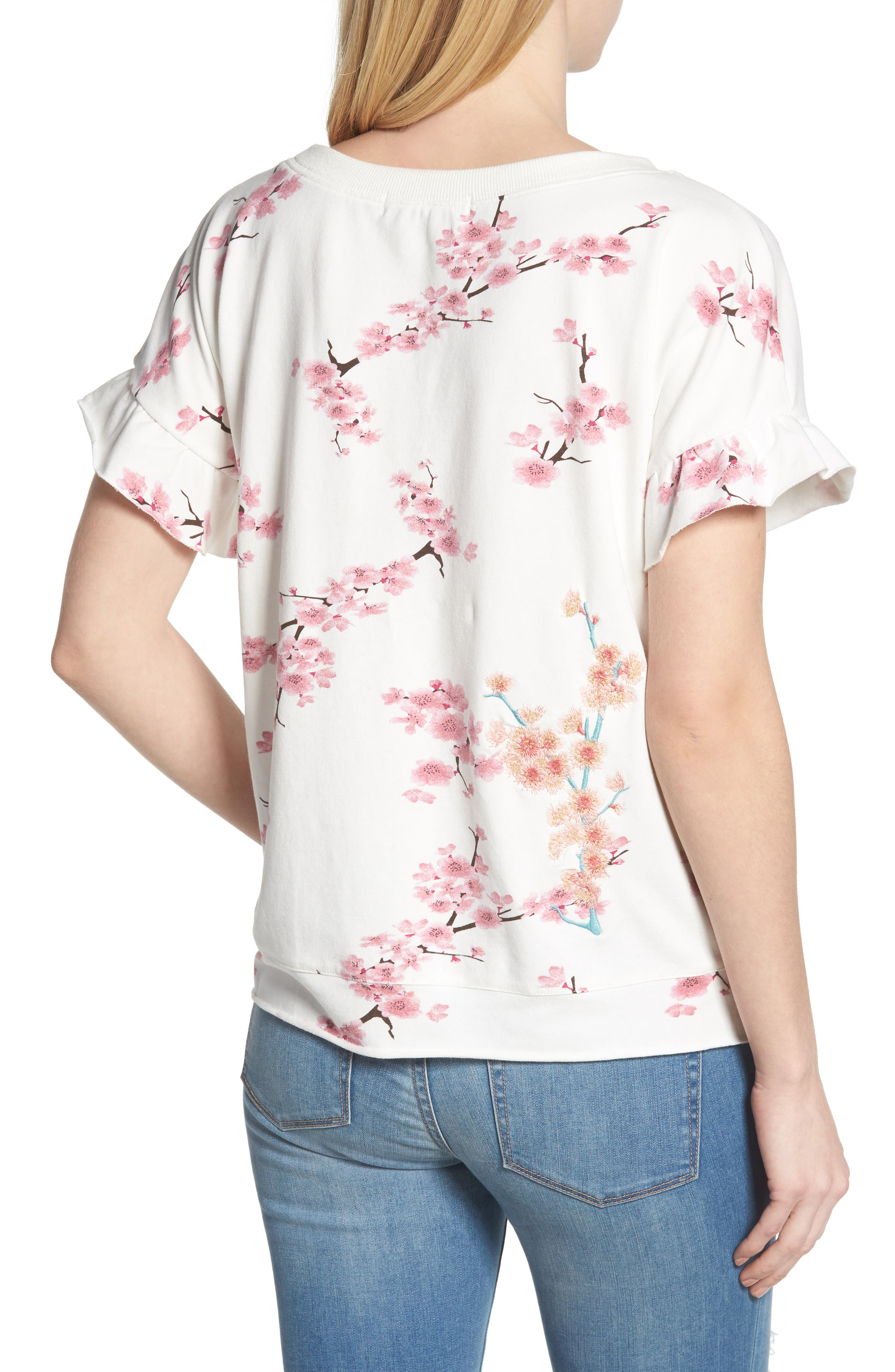 Short Sleeve Lace Up Cherry Blossom Sweatshirt,                             Alternate thumbnail 2, color,                             White Cherry Blossom