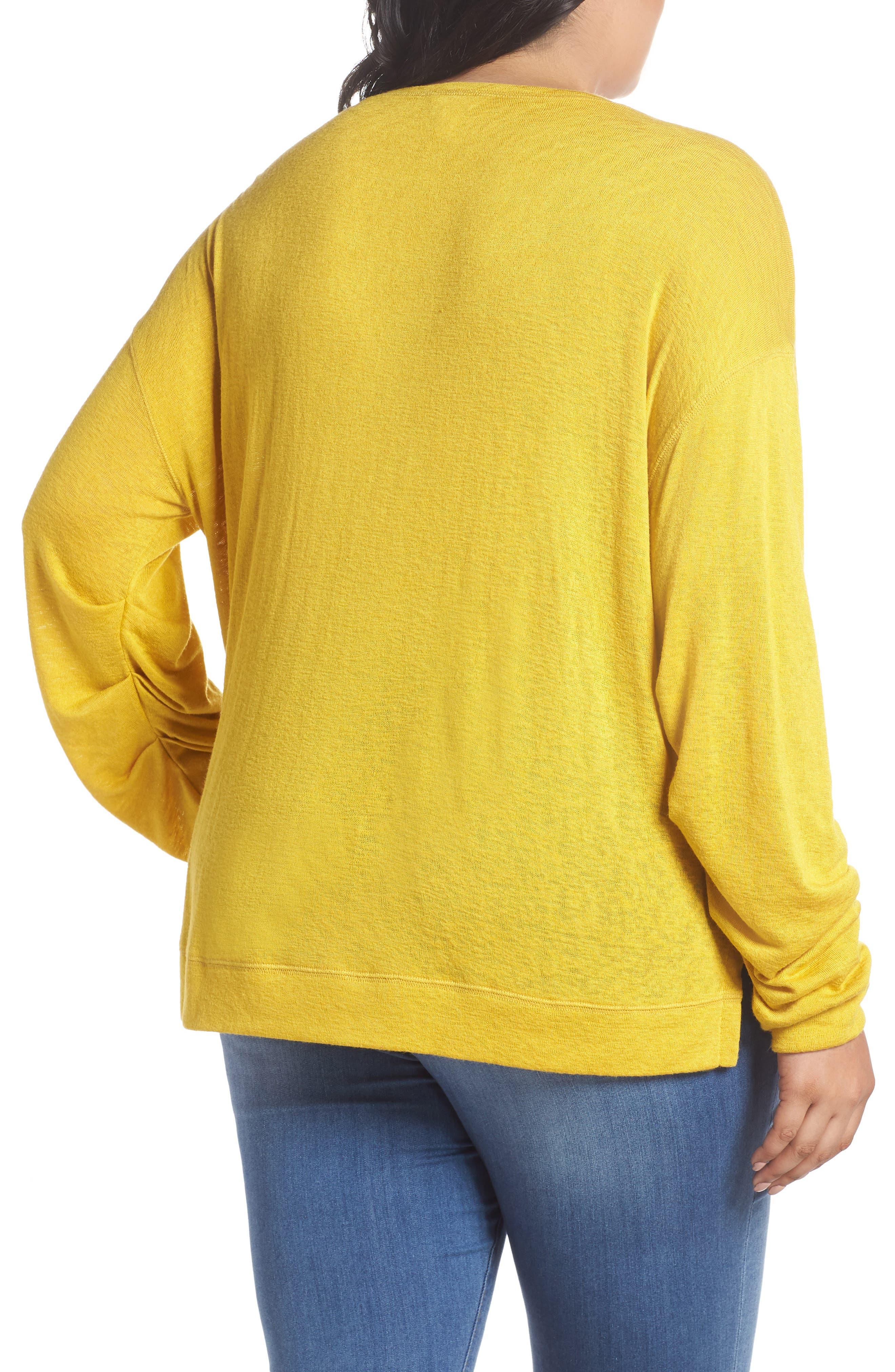 Tuck Sleeve Sweatshirt,                             Alternate thumbnail 2, color,                             Yellow Tea