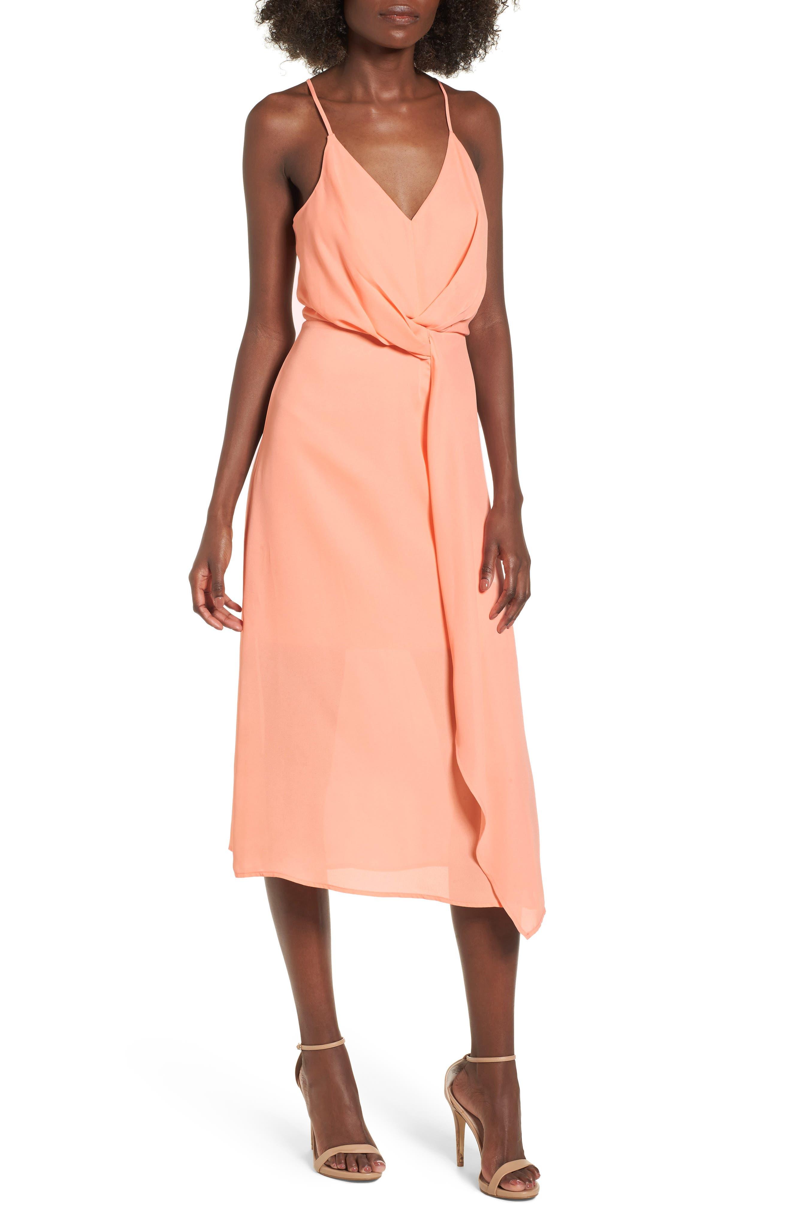 Knotted Waist Midi Dress,                             Main thumbnail 1, color,                             Peach