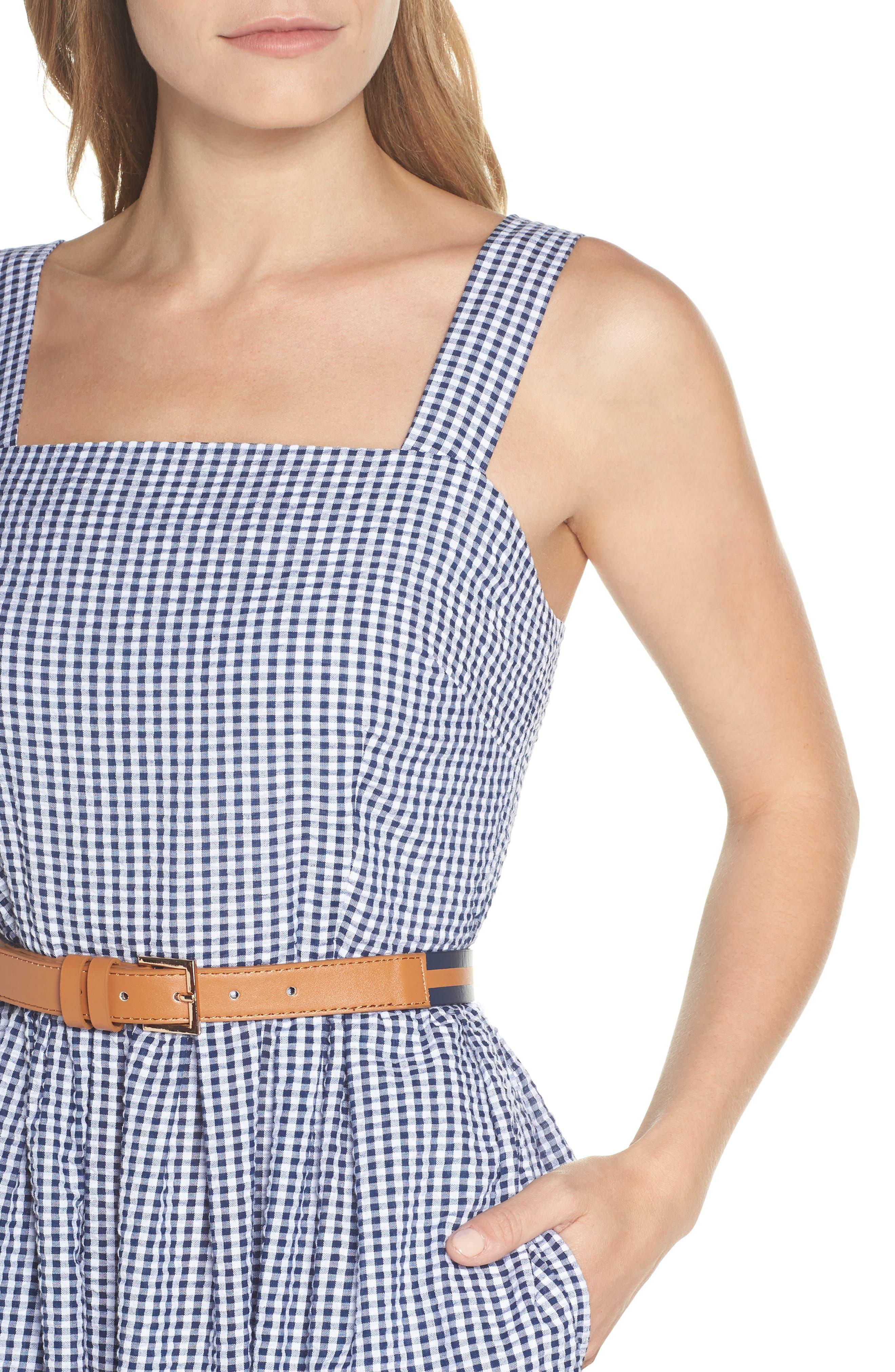 Ruffle Hem Seersucker Check Fit & Flare Dress,                             Alternate thumbnail 4, color,                             Navy/ Ivory