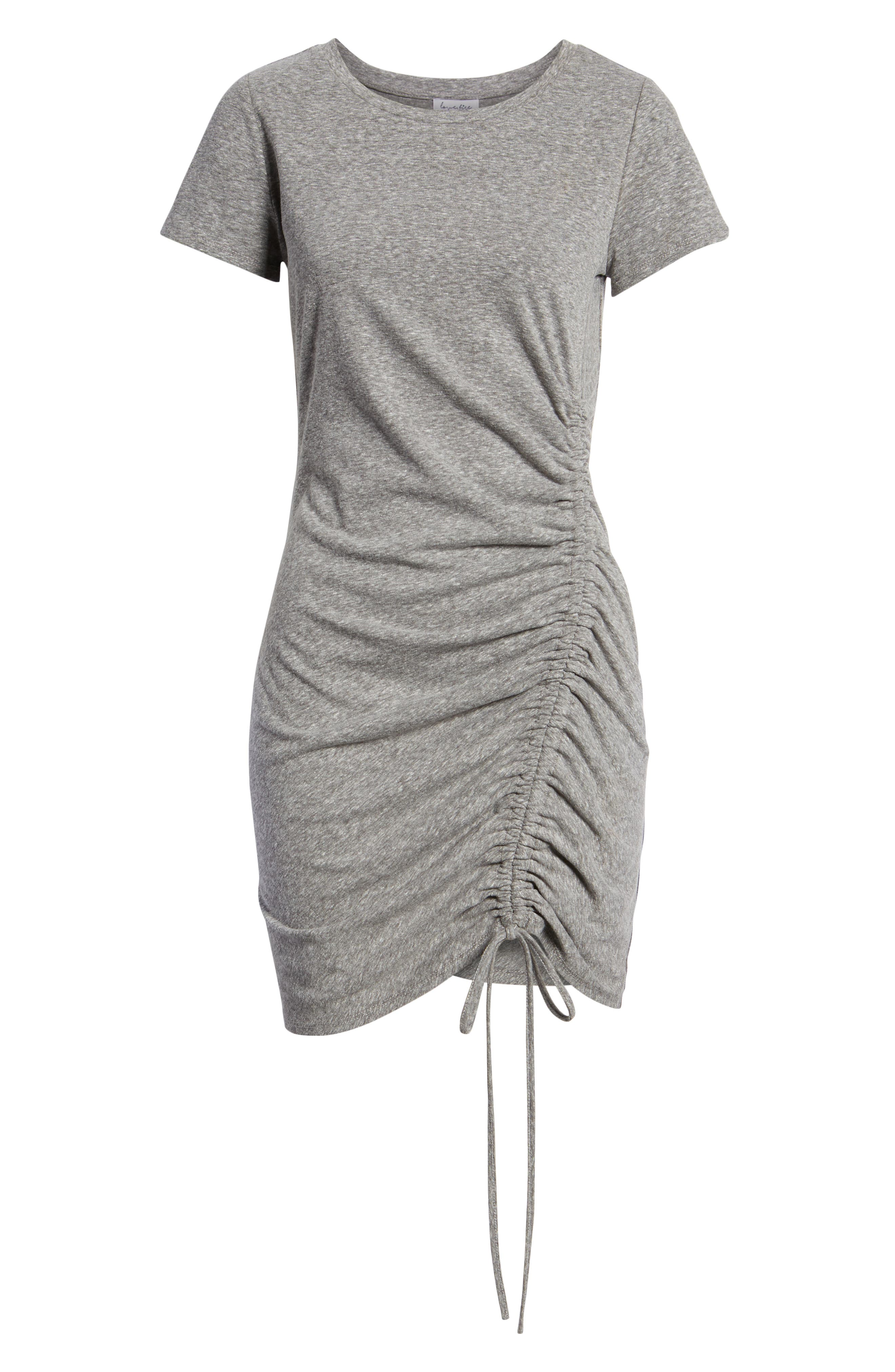Cinch Side T-Shirt Dress,                             Alternate thumbnail 7, color,                             Heather Grey