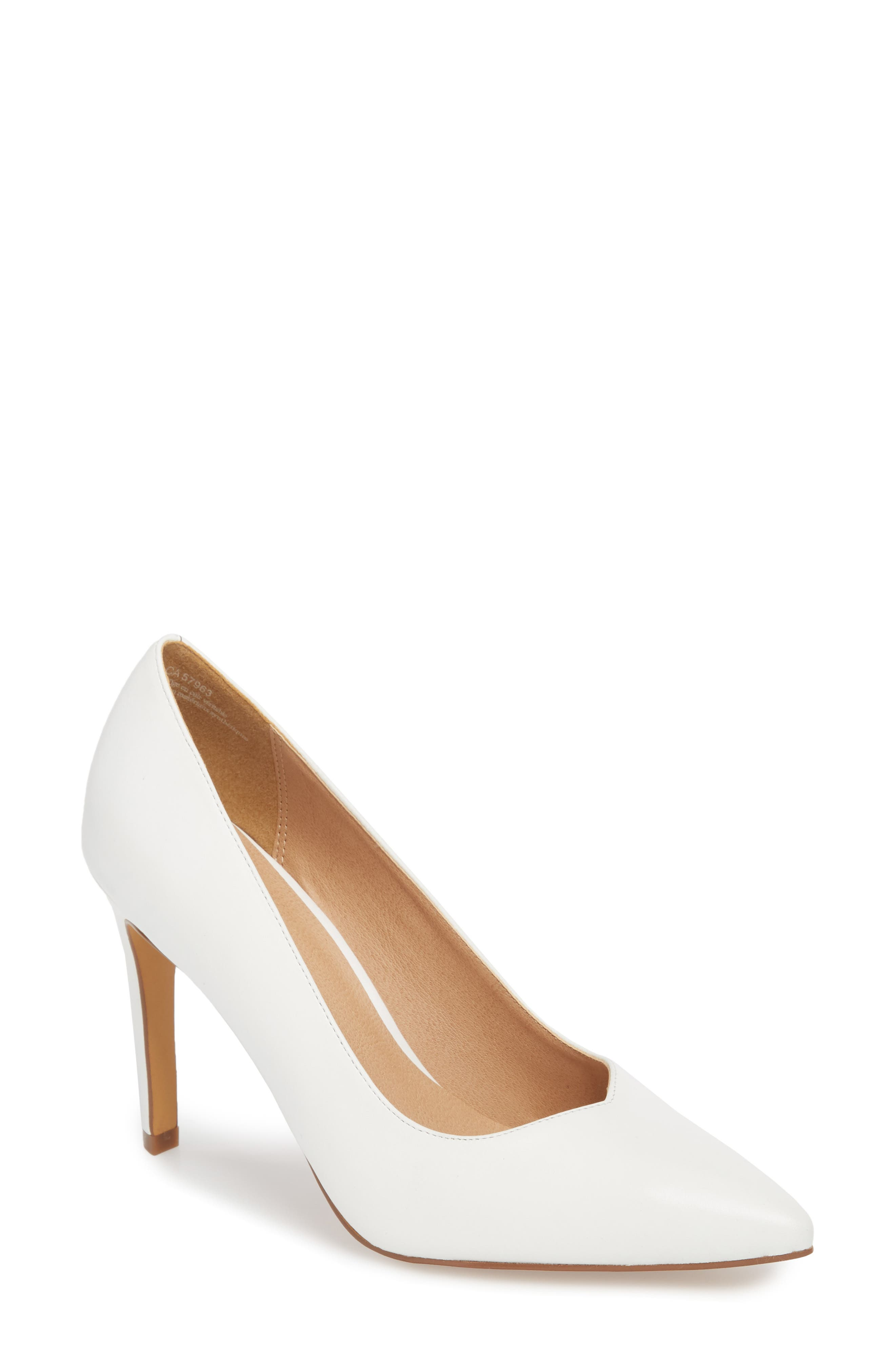Palma Pointy Toe Pump,                         Main,                         color, White Leather