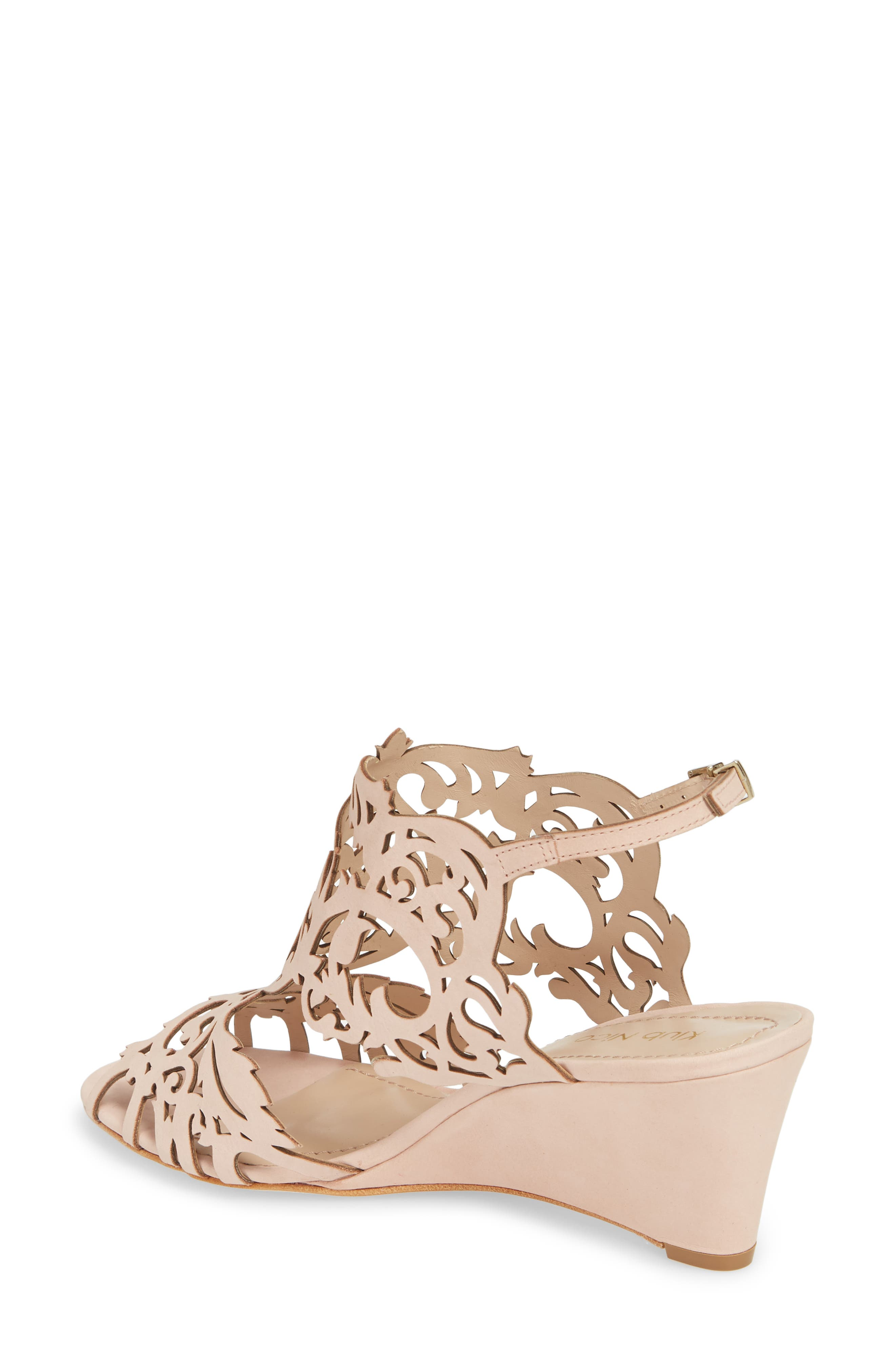Marcela Laser Cutout Wedge Sandal,                             Alternate thumbnail 2, color,                             Blush Leather