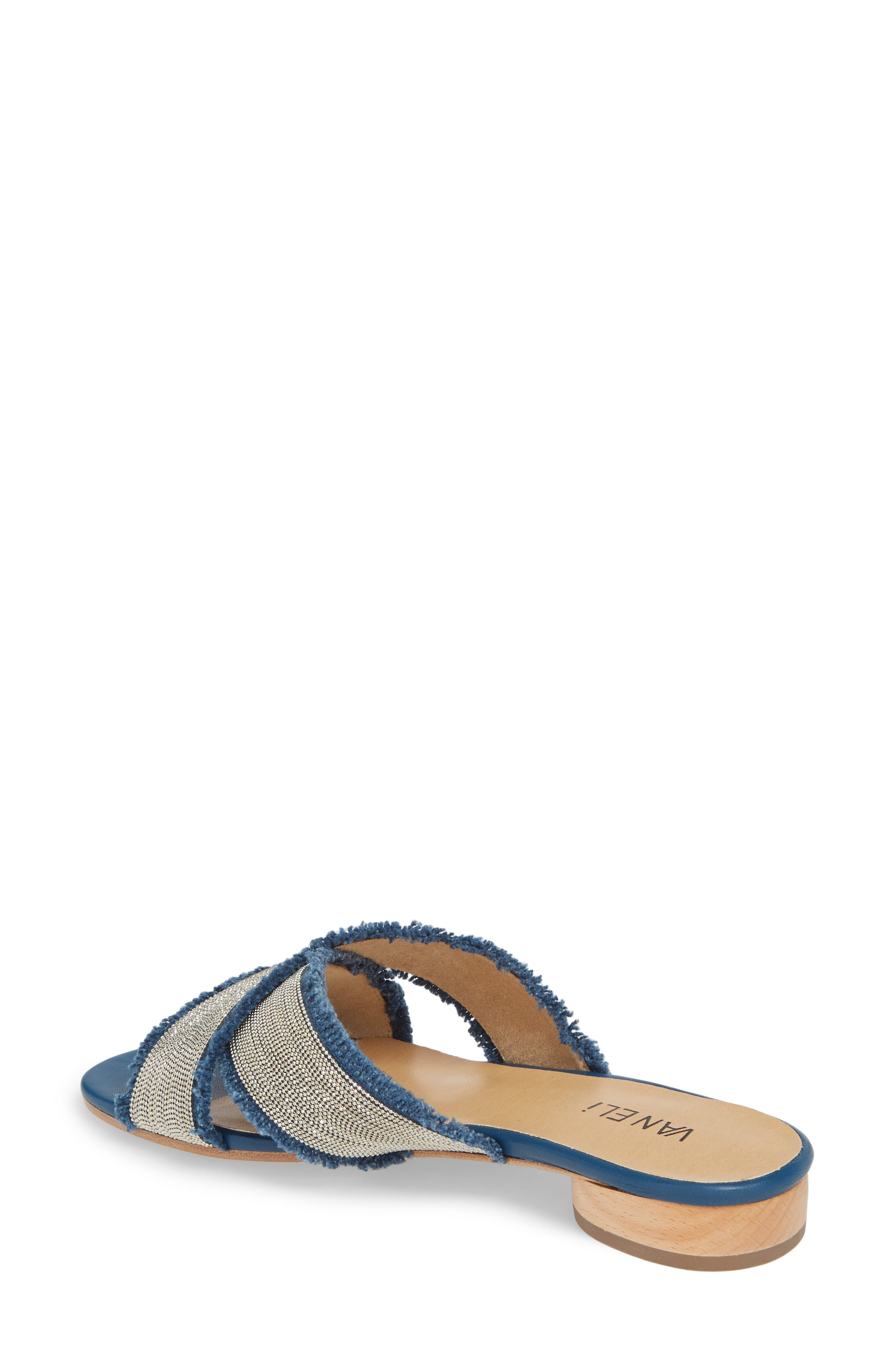 Baret Embellished Cross Strap Slide Sandal,                             Alternate thumbnail 2, color,                             Denim Fabric