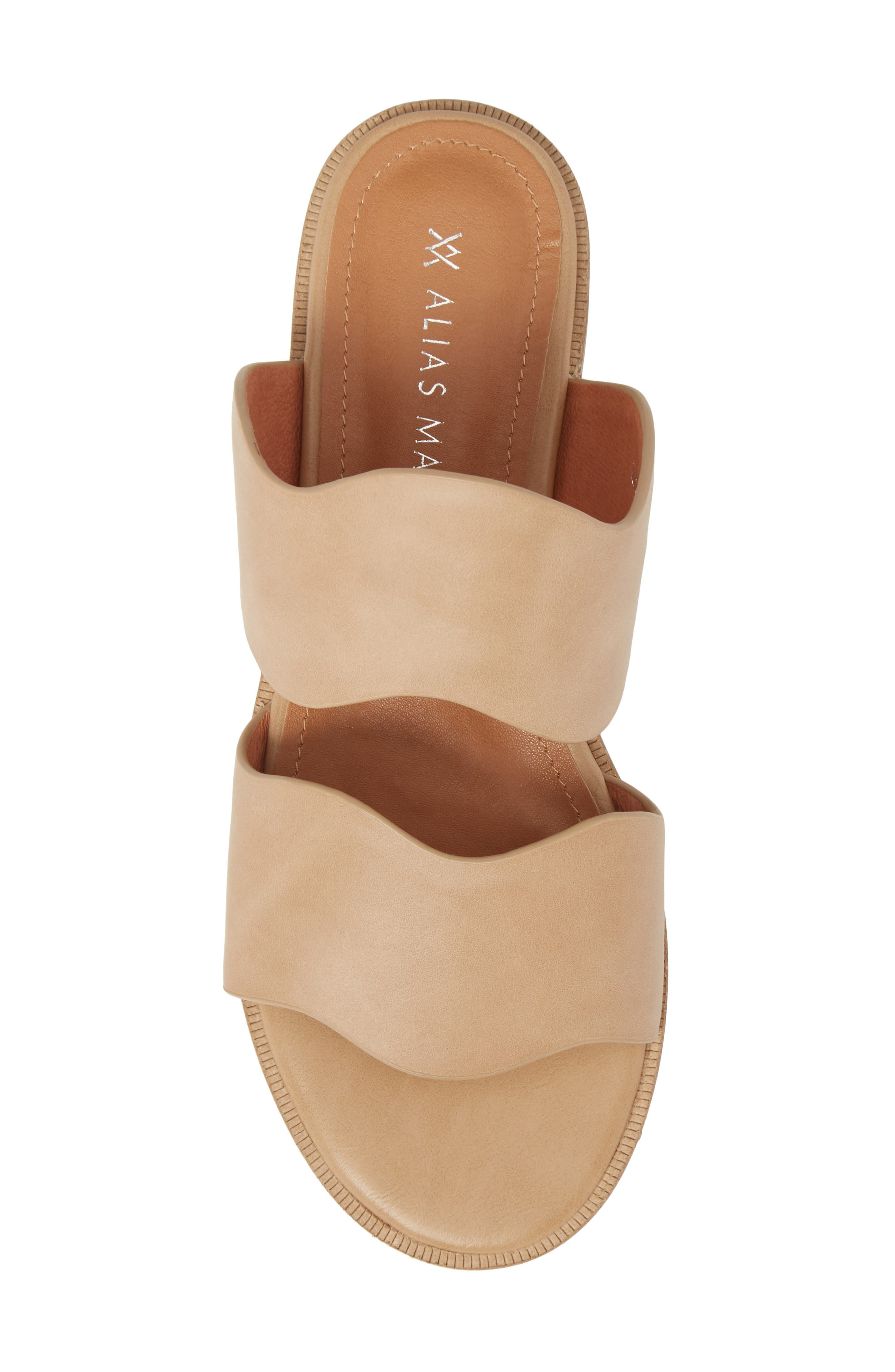 Thermos Scalloped Slide Sandal,                             Alternate thumbnail 5, color,                             Natural Leather