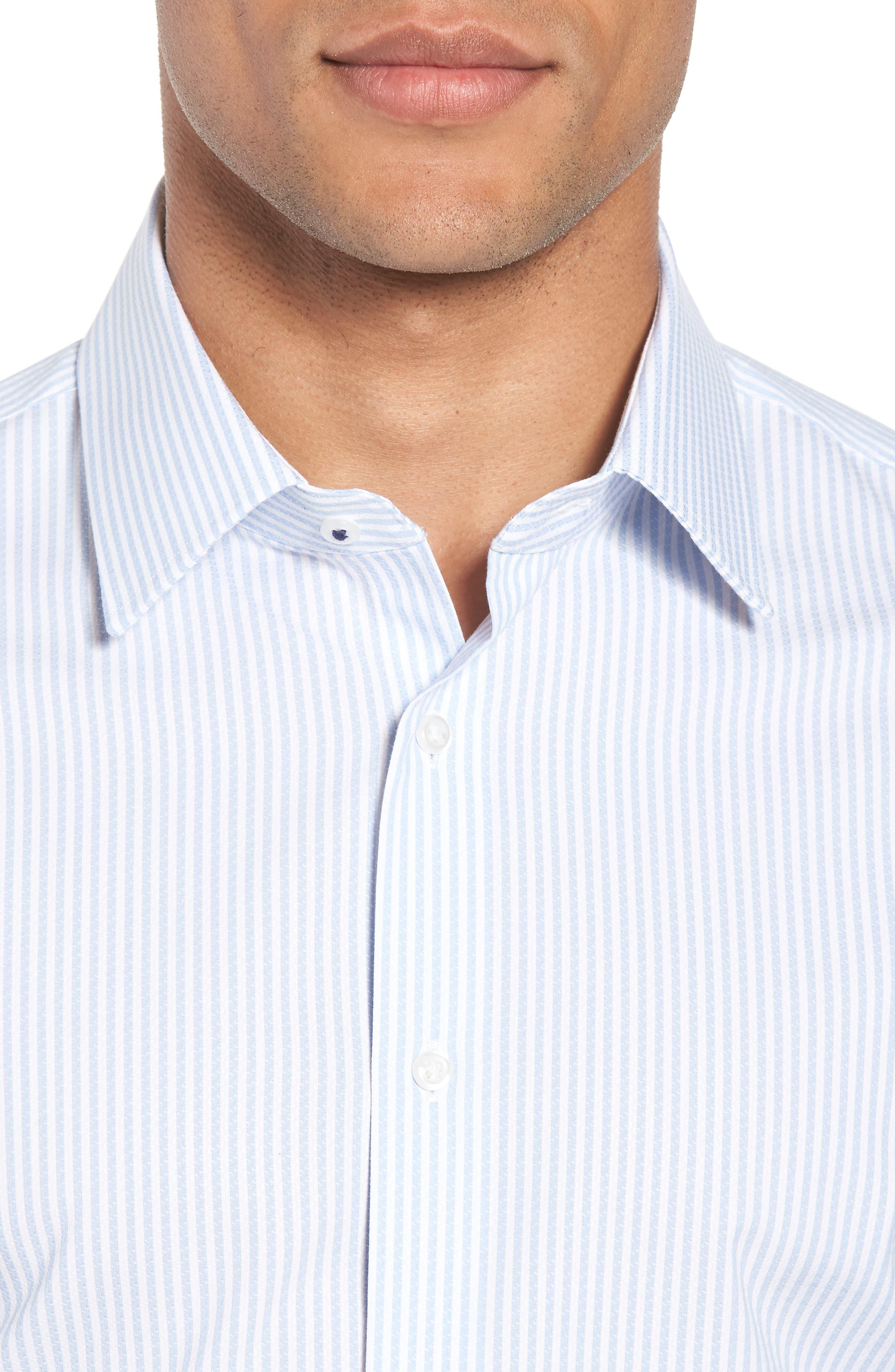 Tech-Smart Trim Fit Stripe Stretch Dress Shirt,                             Alternate thumbnail 2, color,                             Blue Brunnera