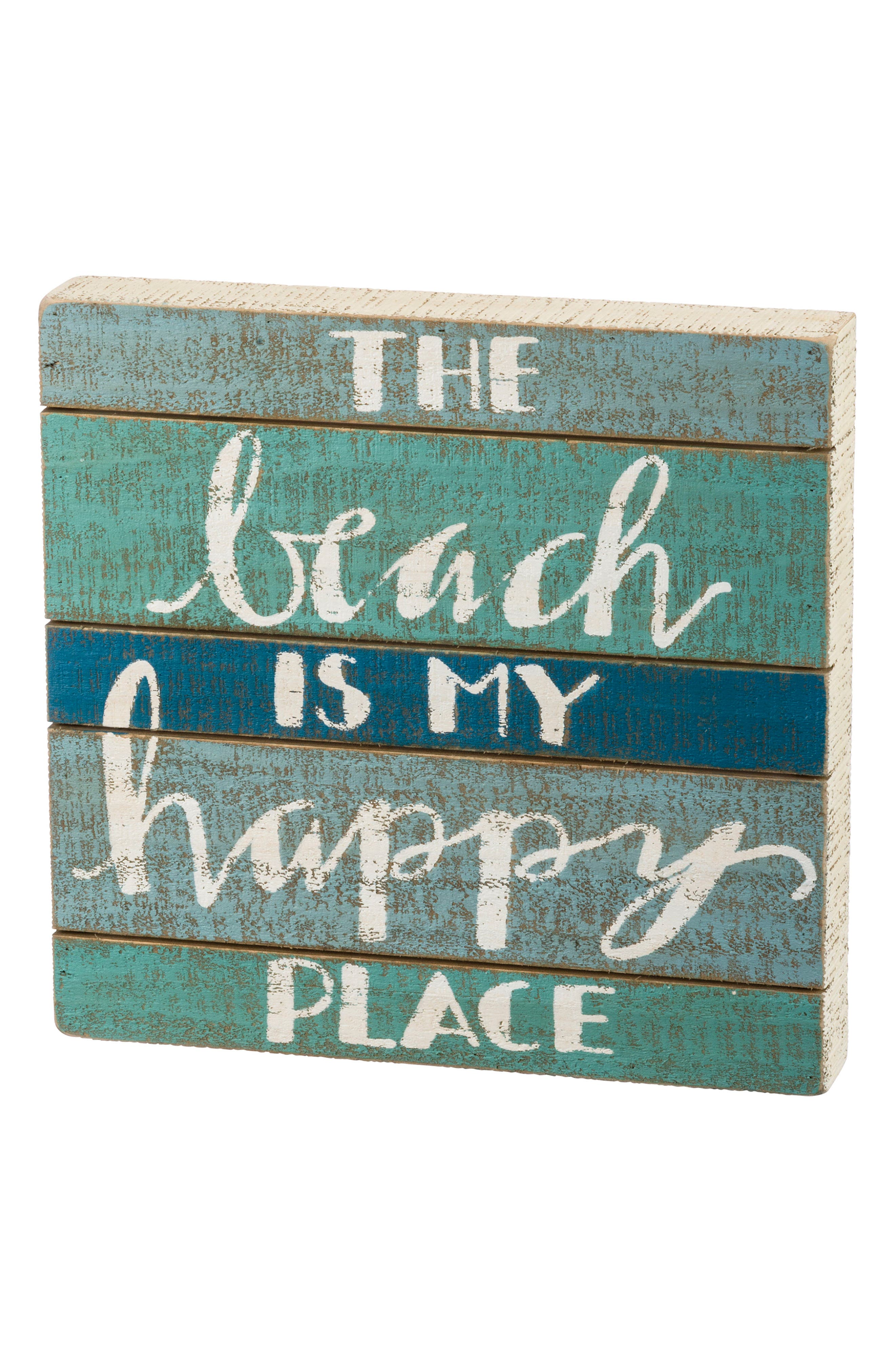 The Beach Is My Happy Place Slat Box Sign,                             Main thumbnail 1, color,                             Blue