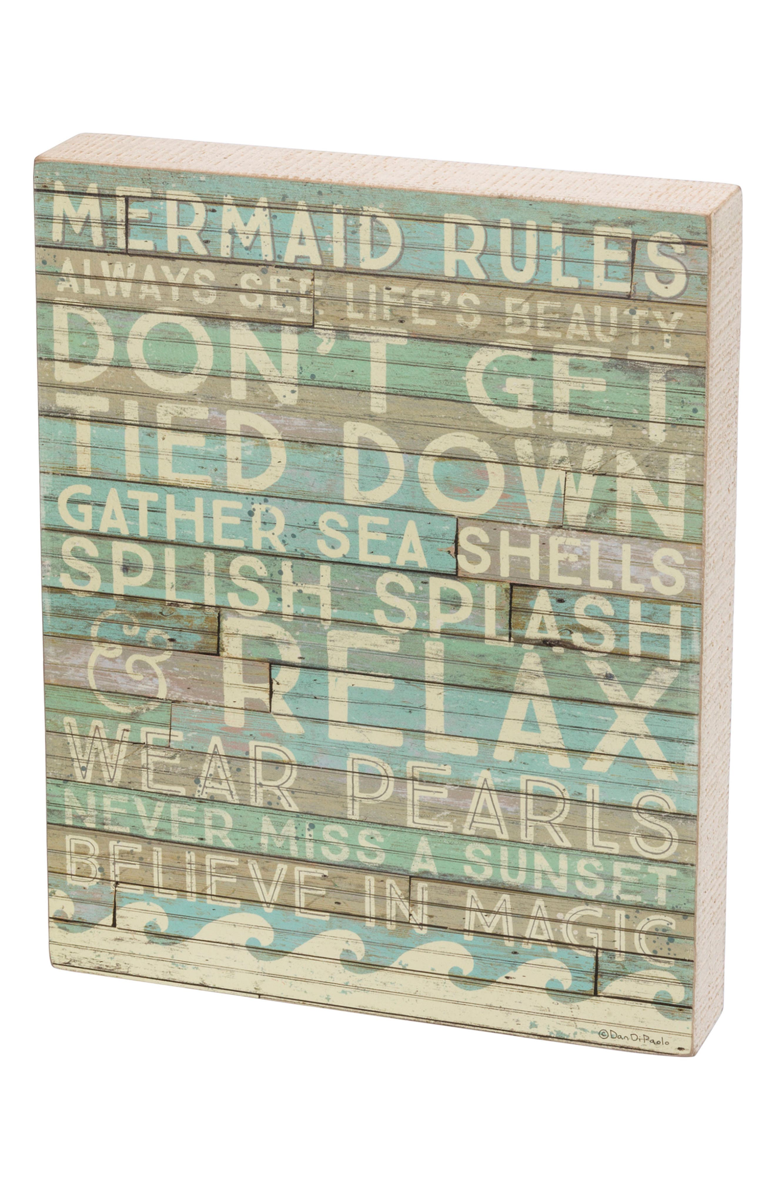 Mermaid Rules Box Sign,                         Main,                         color, Blue