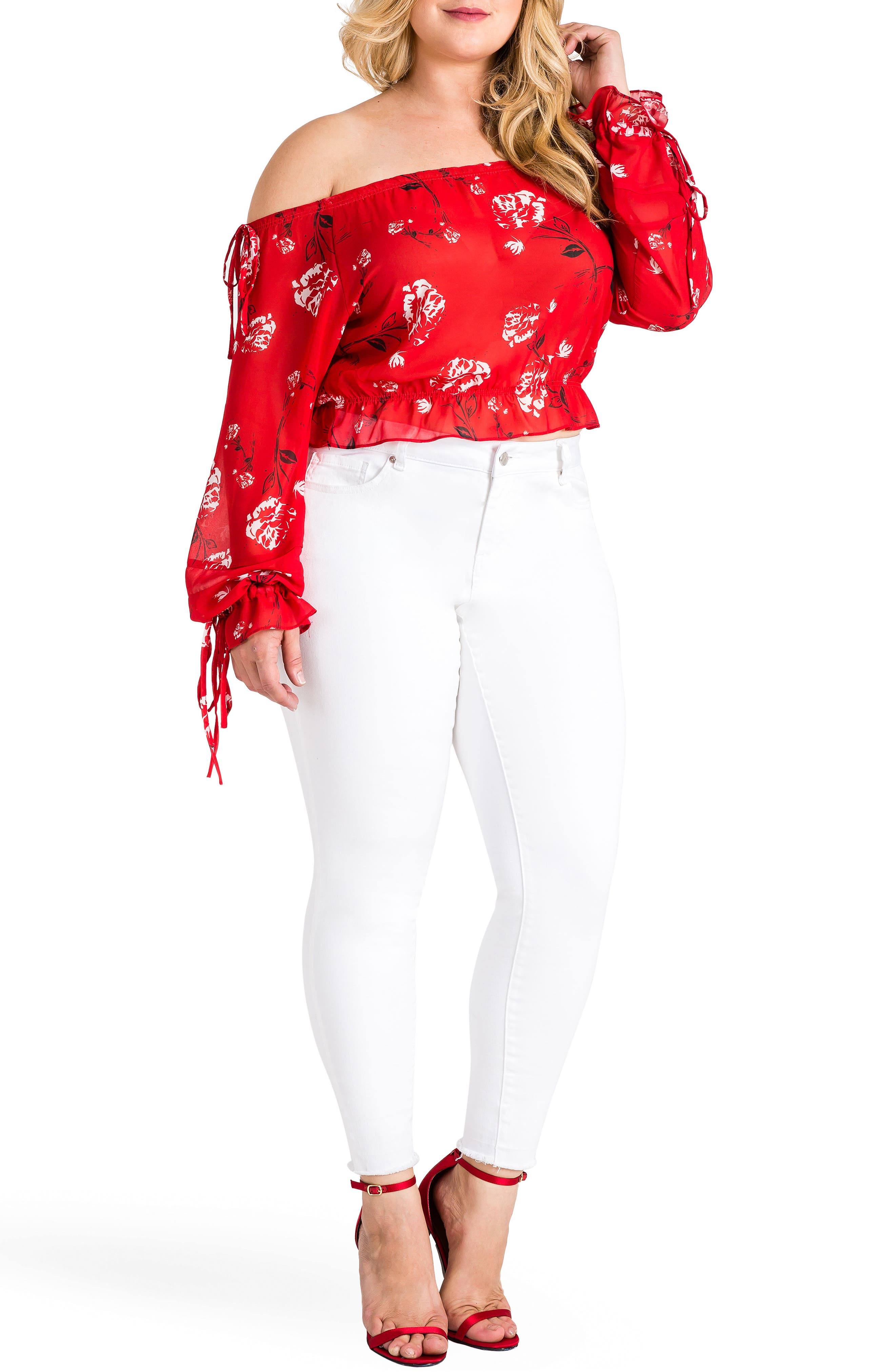 Marina Off the Shoulder Tie Sleeve Top,                             Alternate thumbnail 4, color,                             Red Tulip Print
