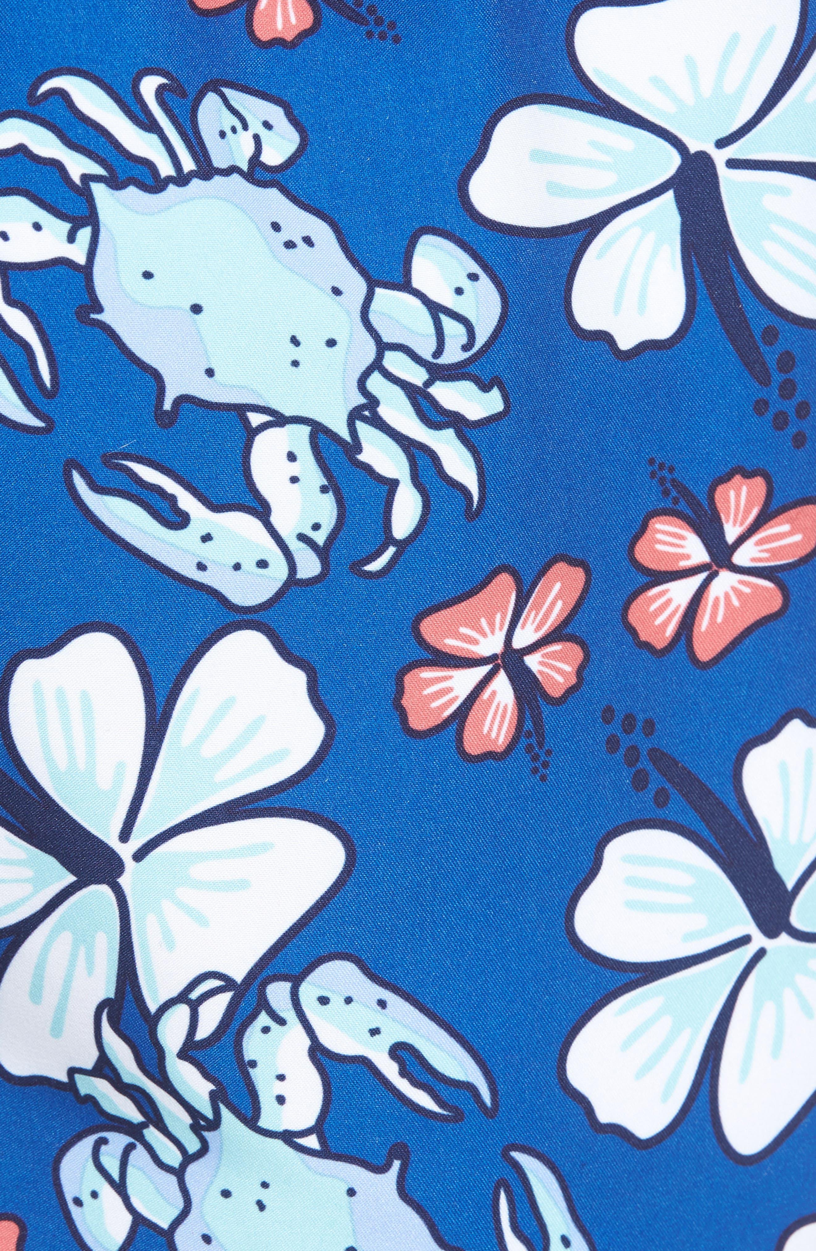 Chappy Crab Floral Swim Trunks,                             Alternate thumbnail 5, color,                             Yacht Blue