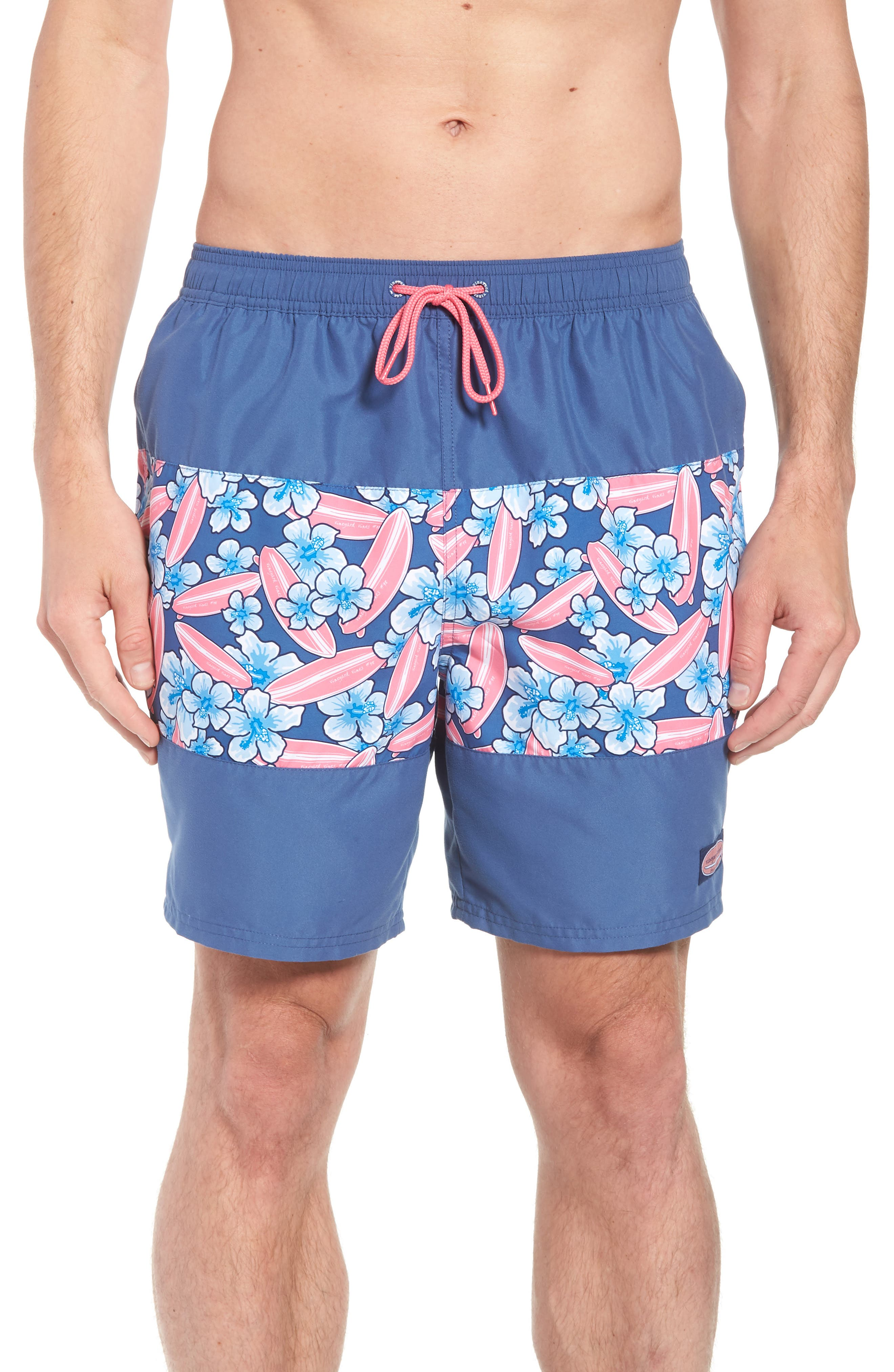 Chappy Pieced Surfboard Swim Trunks,                             Main thumbnail 1, color,                             Moonshine