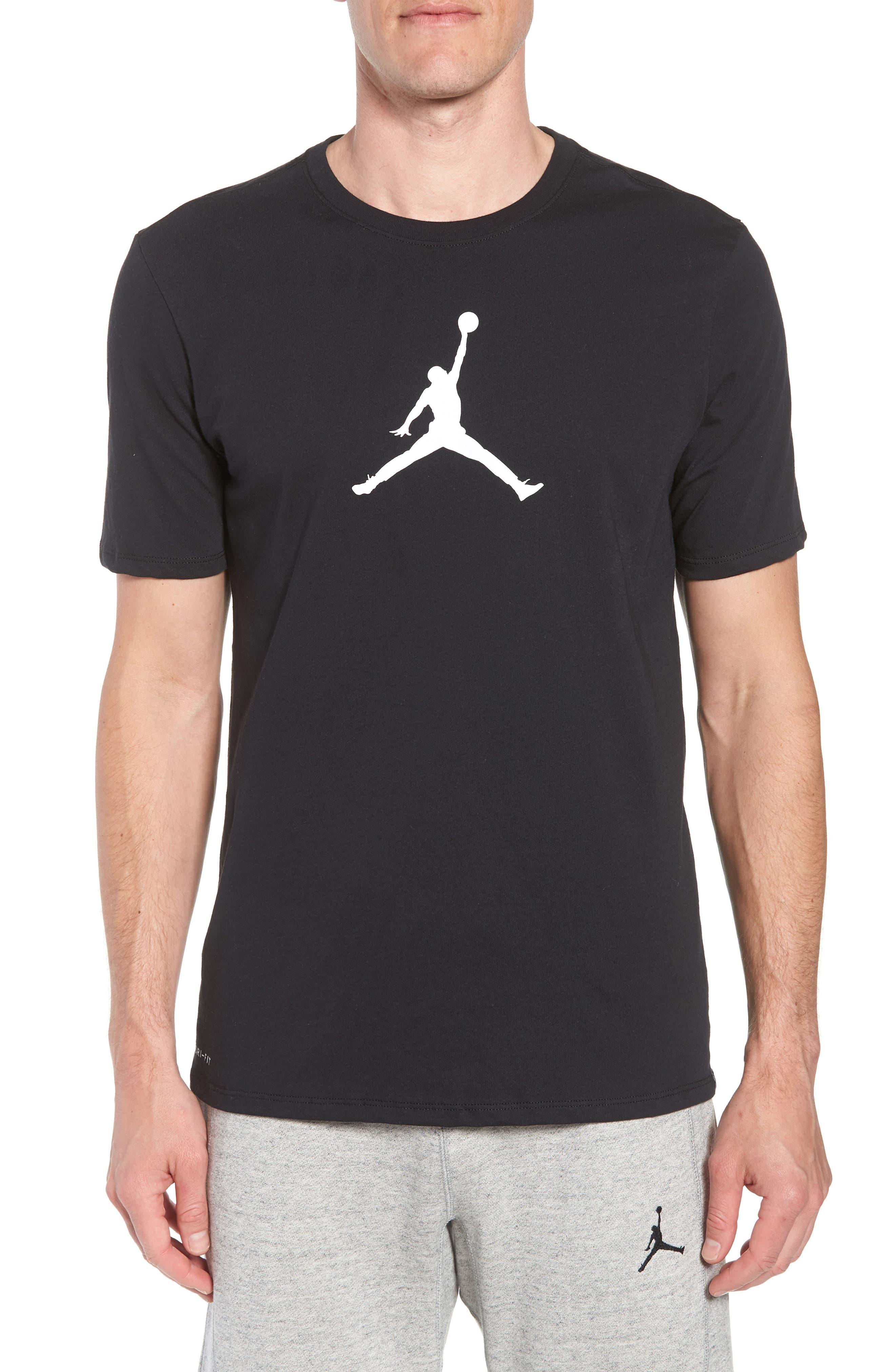 Iconic Jumpman Graphic T-Shirt,                             Main thumbnail 1, color,                             Black/ White