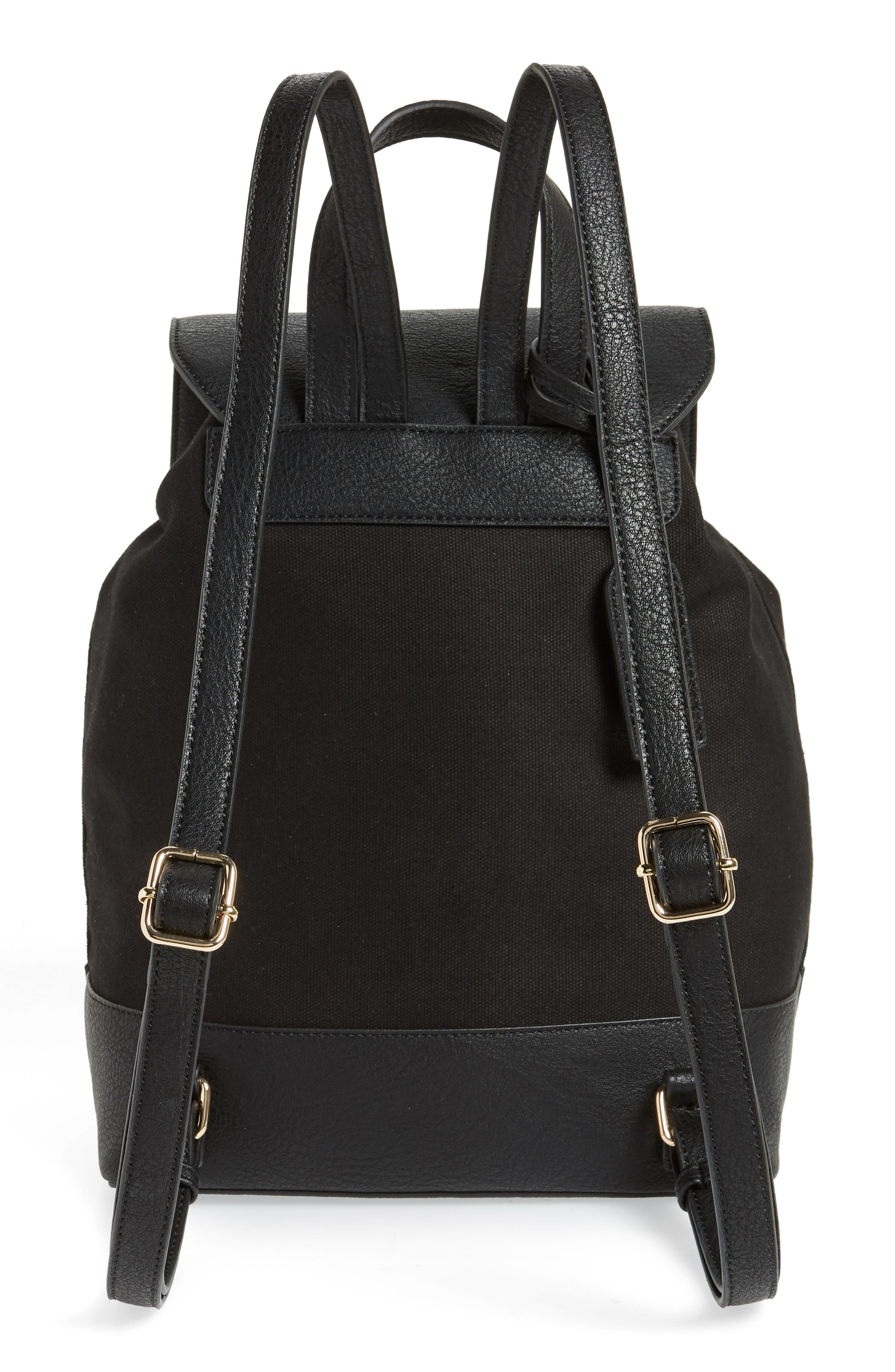 Canvas & Faux Leather Backpack,                             Alternate thumbnail 3, color,                             Black
